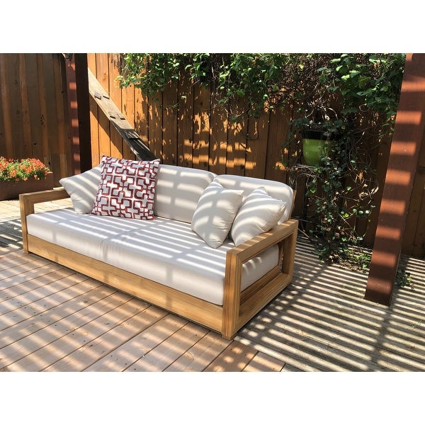 Favorite Shop Safavieh Couture Outdoor Montford Teak Brown/ Beige 3 Intended For Montford Teak Patio Sofas With Cushions (View 7 of 20)