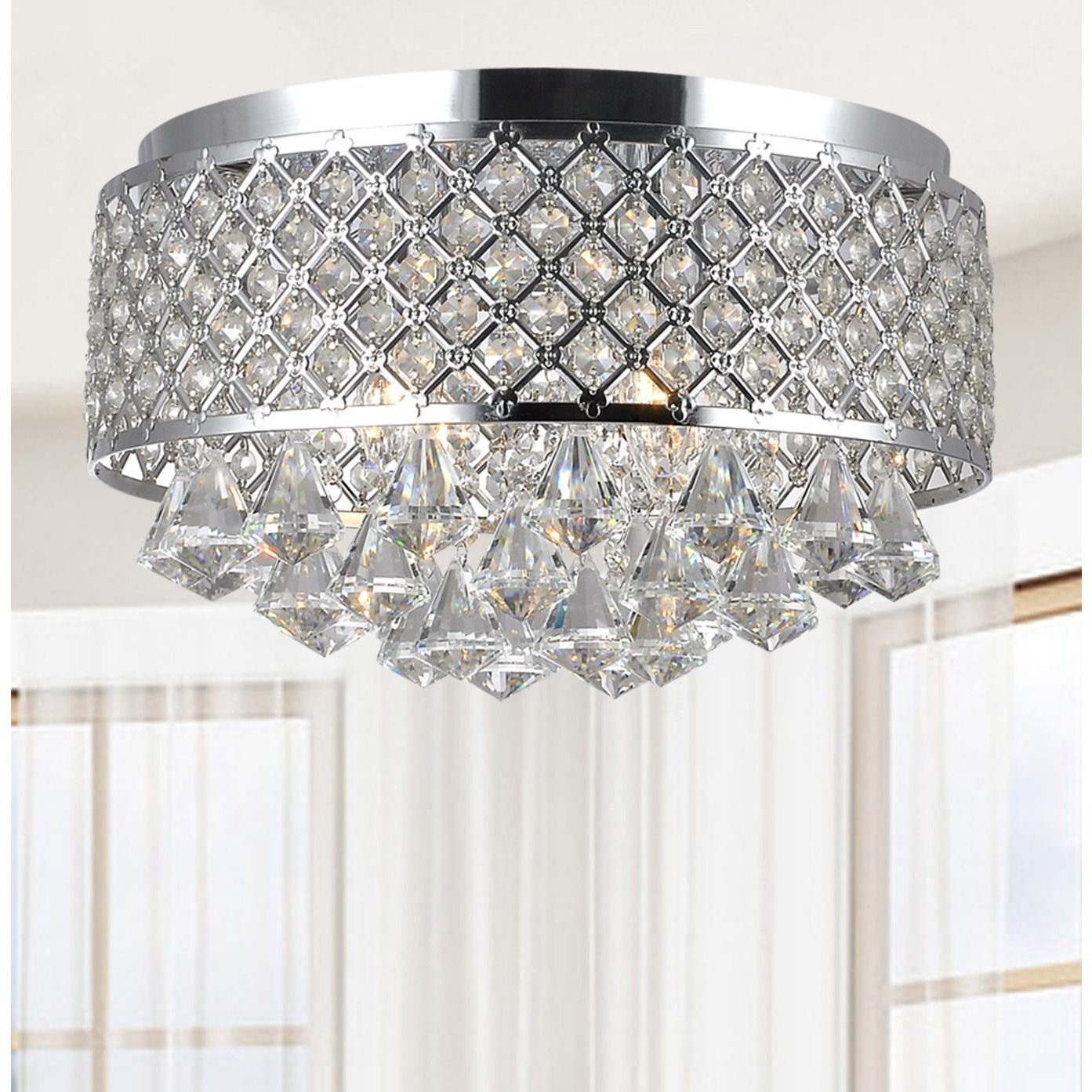 Favorite Silver Orchid Taylor 4 Light Chrome And Crystal Flush Mount Inside Aurore 4 Light Crystal Chandeliers (Gallery 12 of 20)