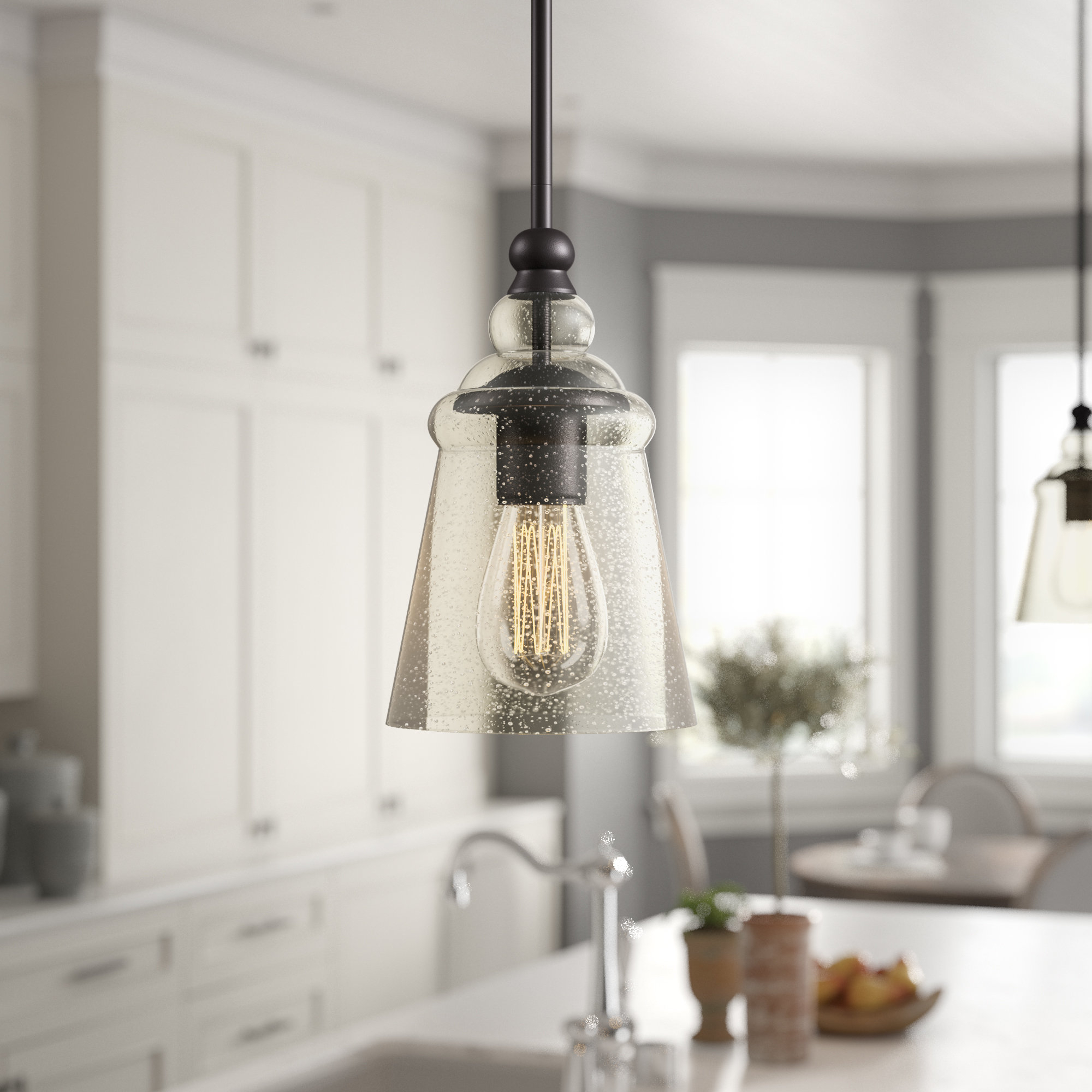 Favorite Spokane 1 Light Single Urn Pendants Intended For Birch Lane™ Heritage Sargent 1 Light Bell Pendant (Gallery 14 of 20)