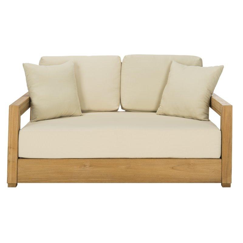 Favorite Summerton Teak Loveseats With Cushions Within Montford Teak Loveseat With Cushions (View 8 of 20)