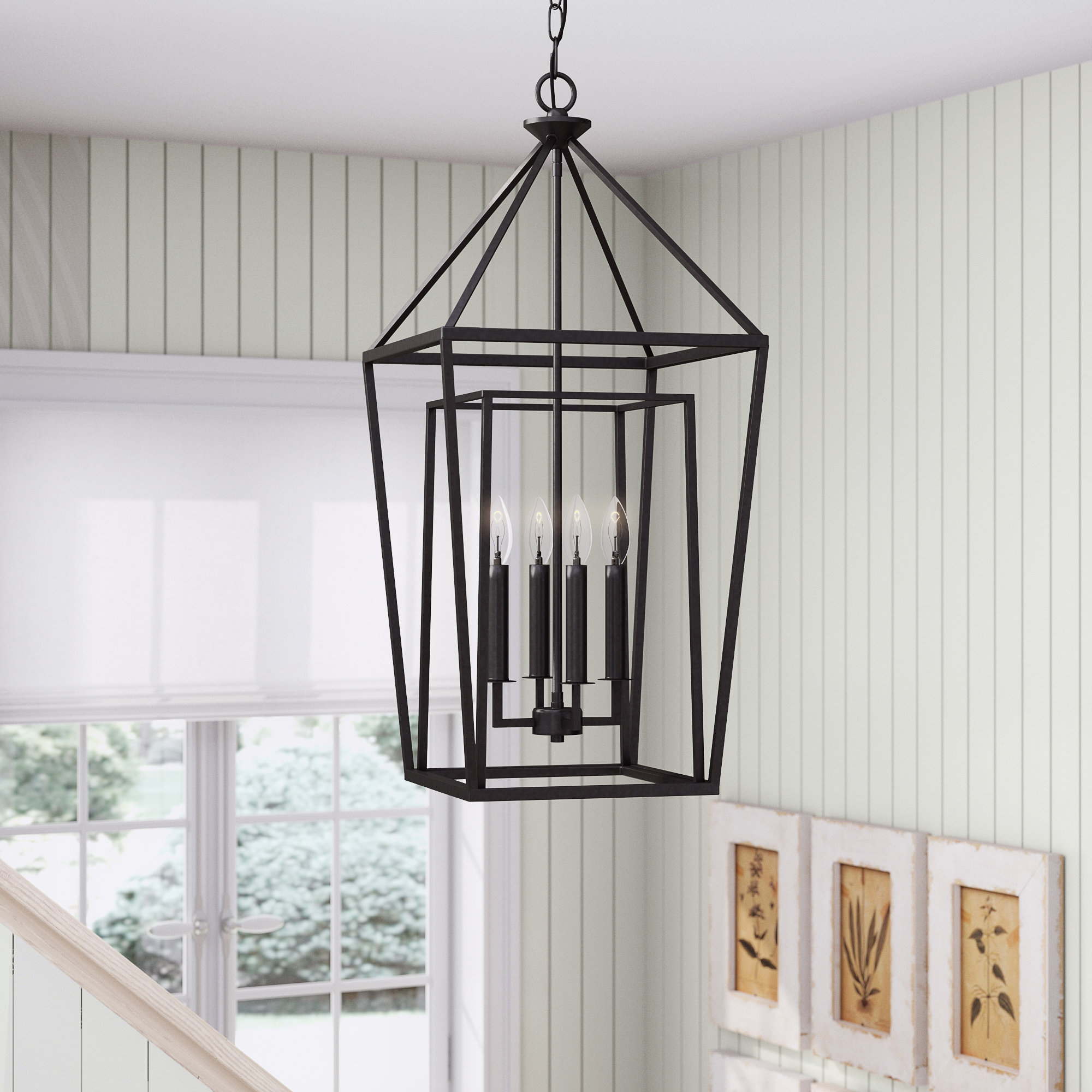 Favorite Varnum 4 Light Lantern Pendants With Regard To Roodhouse 4 Light Lantern Geometric Pendant (Gallery 15 of 20)