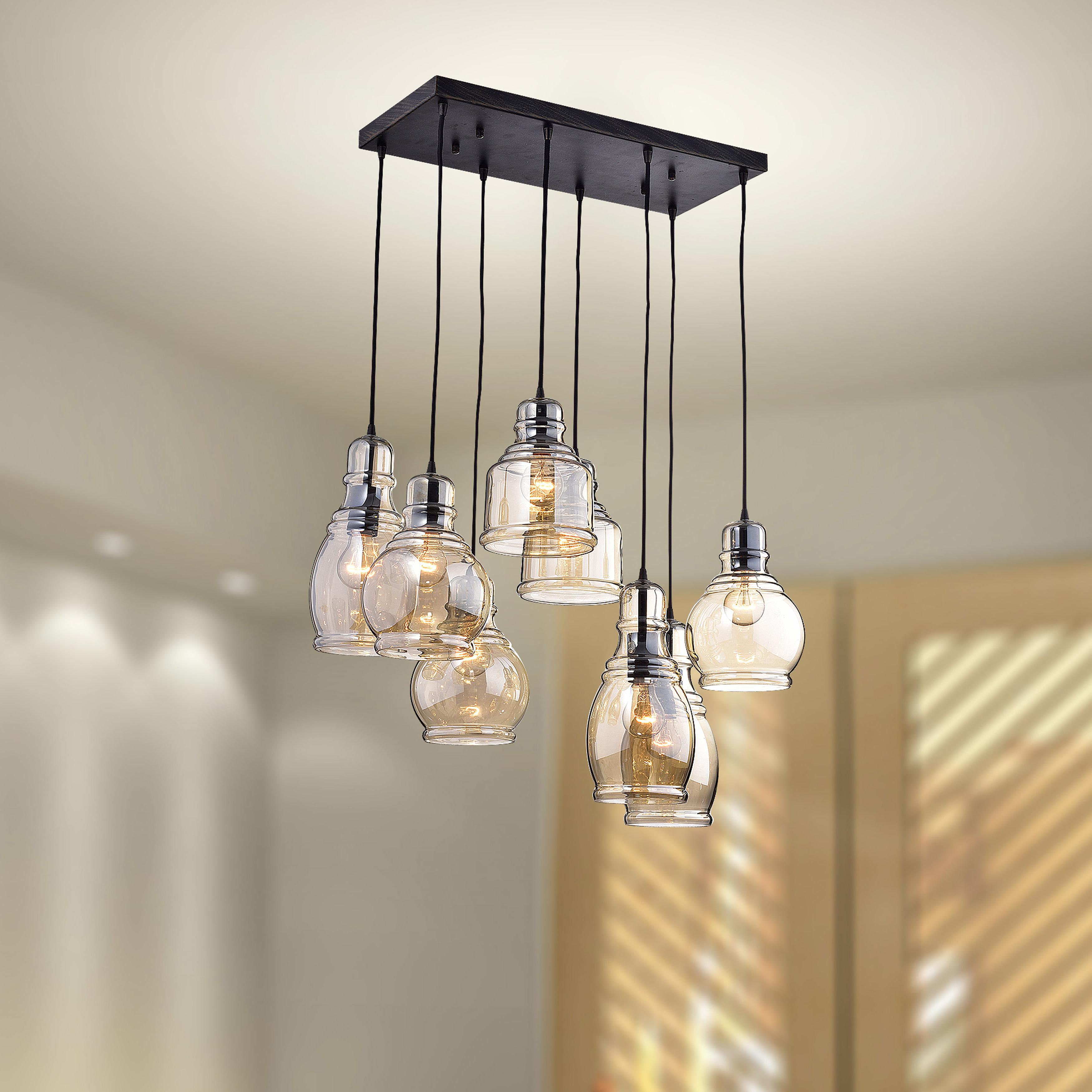 Favorite Vernice 3 Light Cluster Bell Pendants In Pruett Cognac Glass 8 Light Cluster Pendant (View 15 of 20)