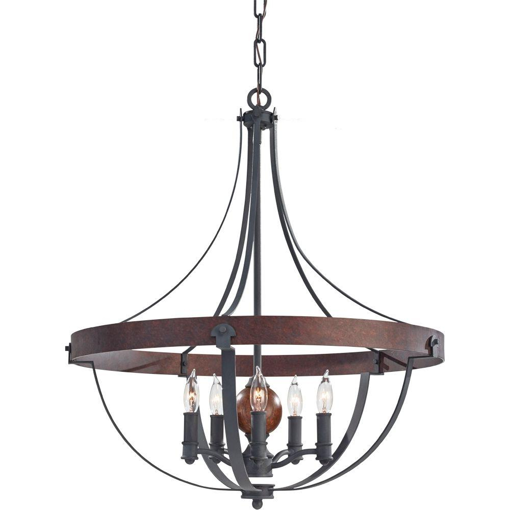 Feiss Alston 24 In. W. 5 Light Weathered Charcoal Brick/antique Forged Iron  Rustic Chandelier With Faux Wood Detail With Trendy Carmen 8 Light Lantern Tiered Pendants (Gallery 18 of 20)