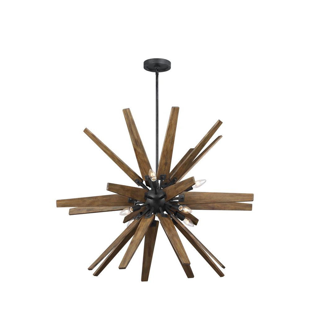 Feiss Thorne 8 Light Dark Weathered Zinc And Weathered Oak Chandelier With Trendy Thorne 5 Light Kitchen Island Pendants (View 7 of 20)