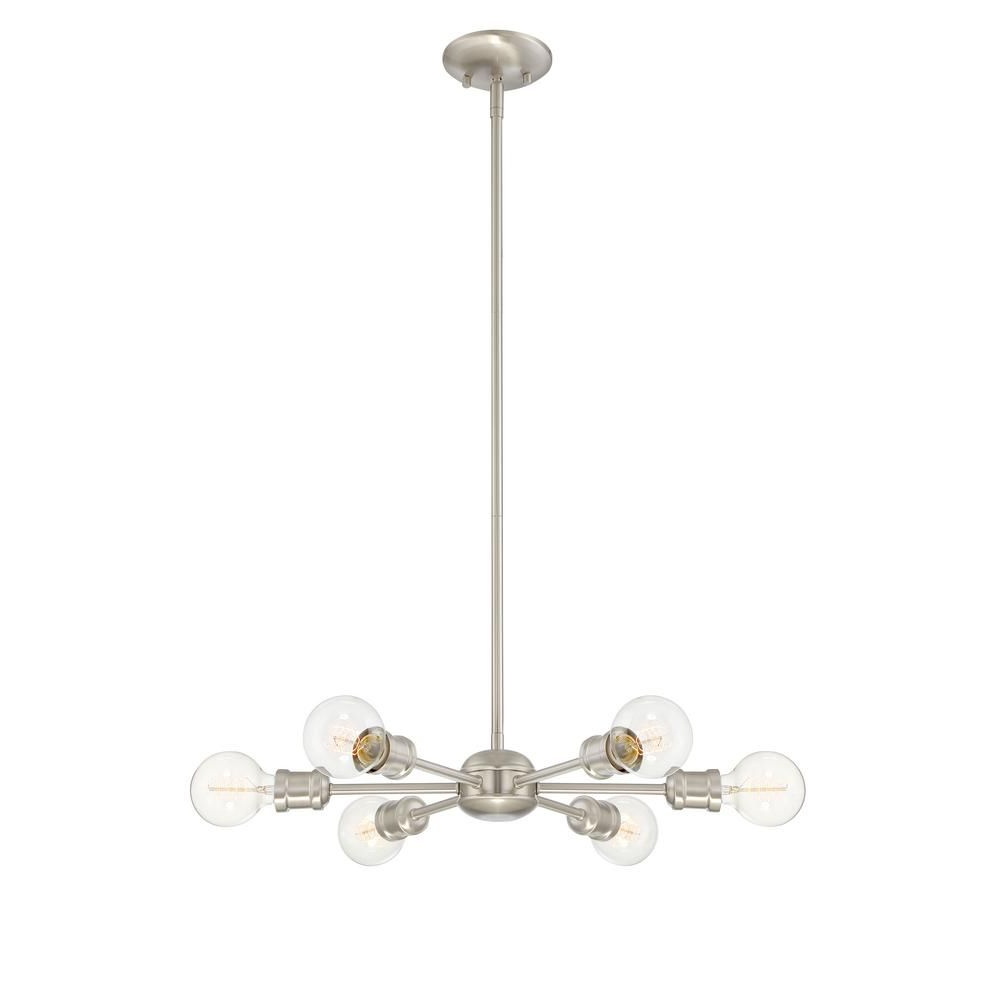 Filament Design 6 Light Brushed Nickel Chandelier Cli With Regard To Most Recent Eladia 6 Light Sputnik Chandeliers (Gallery 13 of 20)