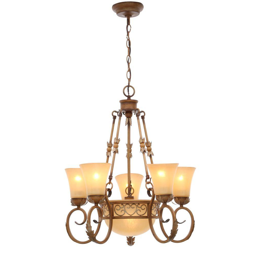Florentina 5 Light Candle Style Chandeliers With Regard To Recent Hampton Bay Florentina 6 Light Amandale Chandelier With Satin Avorio Glass Shades (Gallery 20 of 20)
