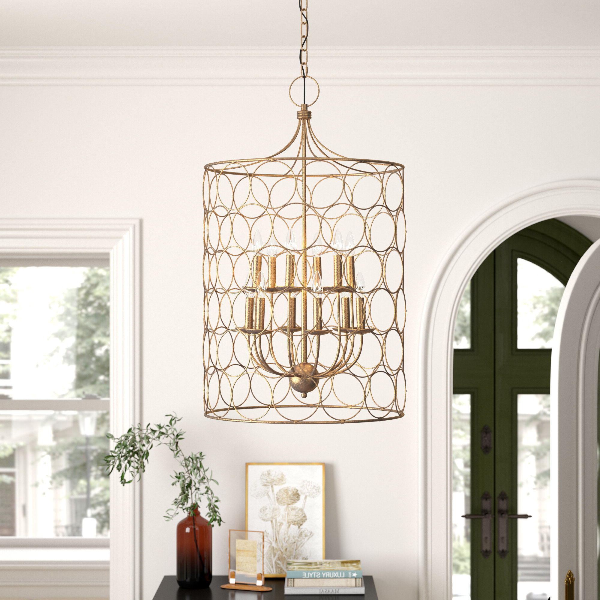 Flores 12 Light Lantern Cylinder Pendant With Best And Newest Kierra 4 Light Unique / Statement Chandeliers (View 8 of 20)