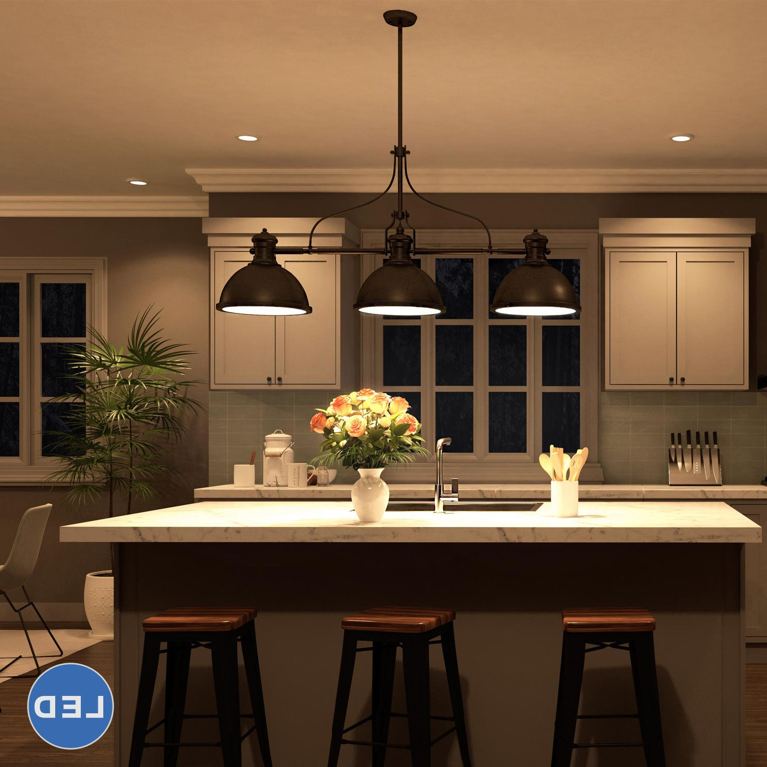 Fredela 3 Light Kitchen Island Pendants Regarding 2020 Features:  Dorado Collection (View 10 of 20)