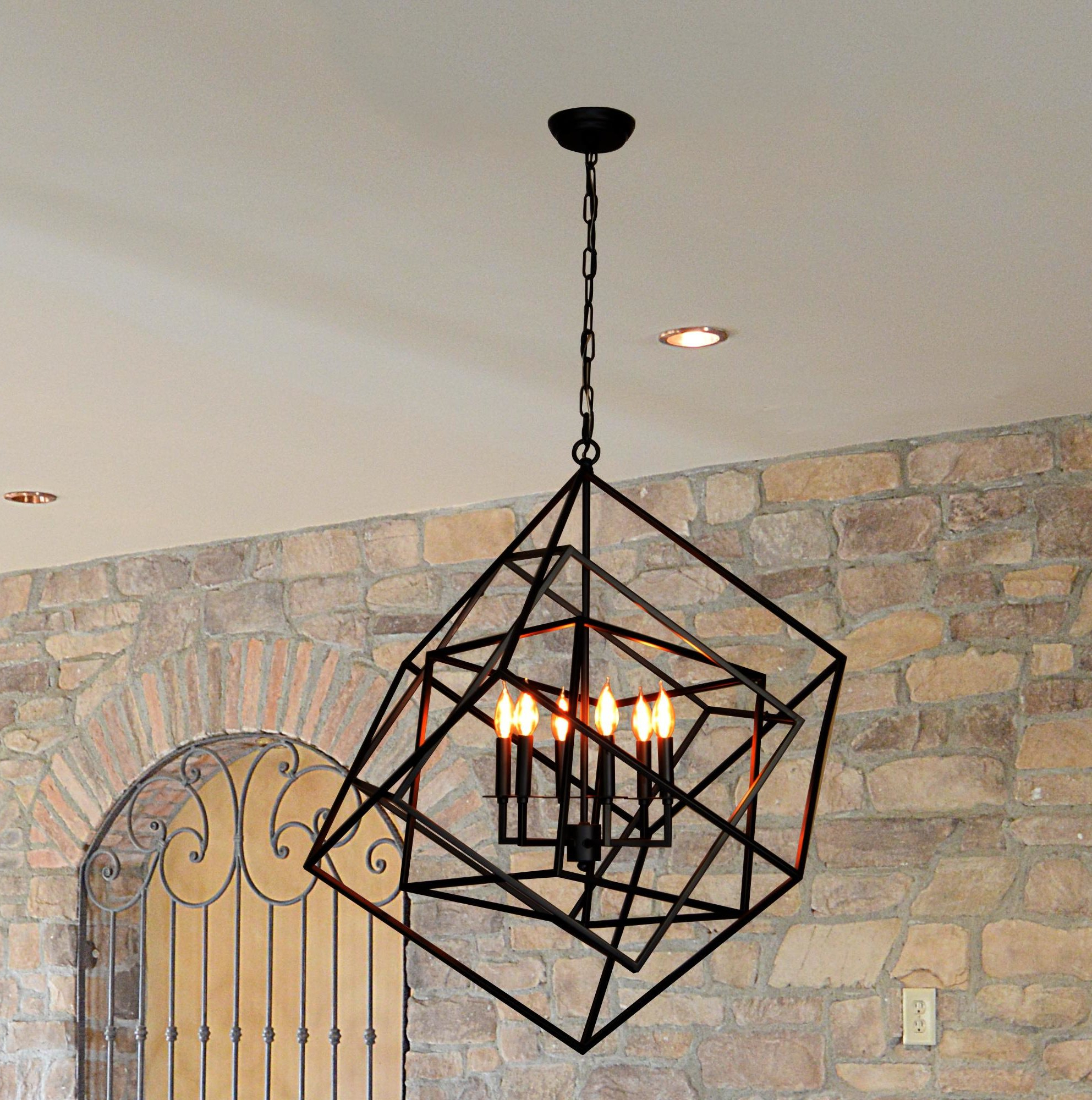 Fredrico 6 Light Geometric Chandelier With 2019 Eastbourne 6 Light Unique / Statement Chandeliers (View 7 of 20)