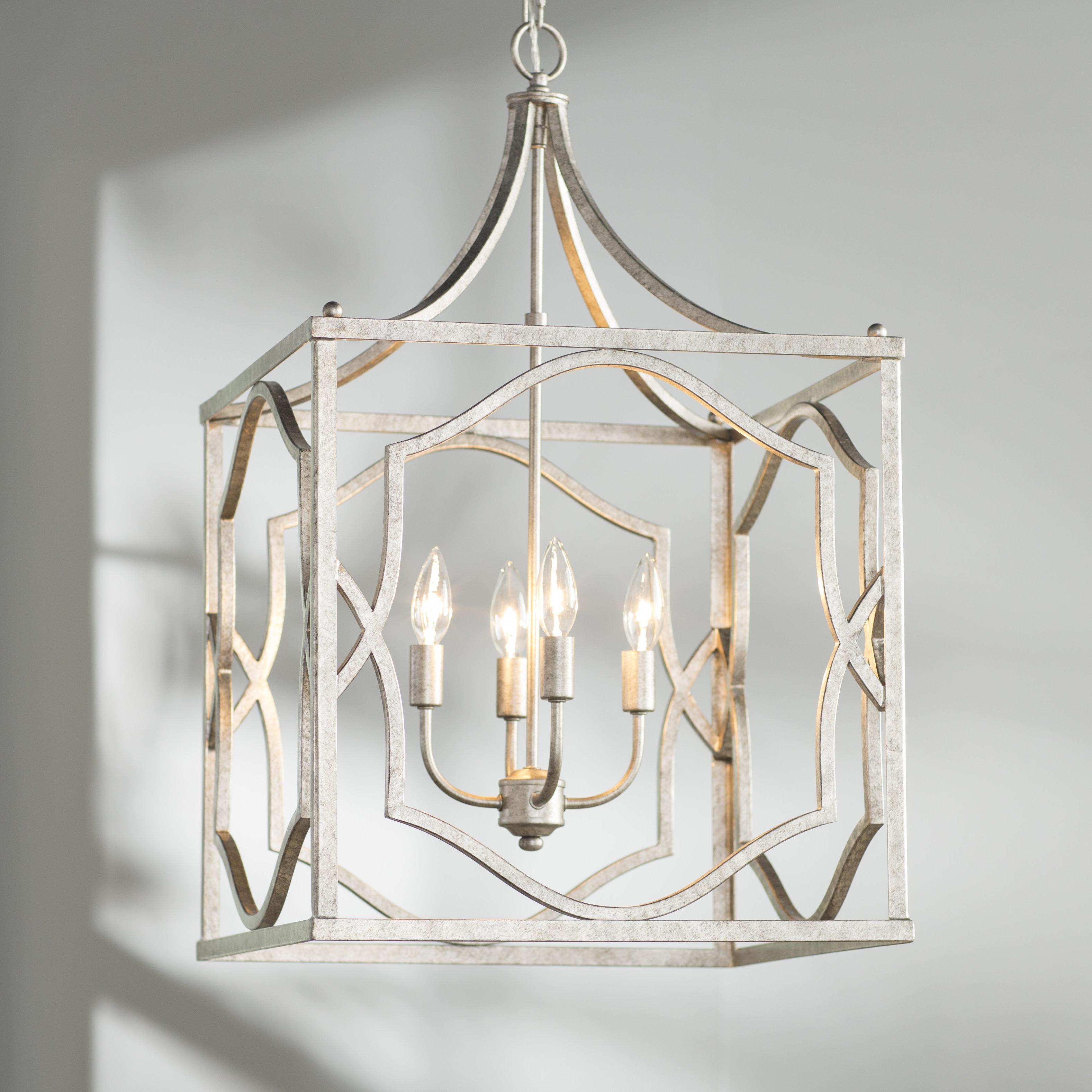 Freeburg 4 Light Lantern Square / Rectangle Pendants Throughout Most Popular Destrey 4 Light Lantern Square / Rectangle Pendant (Gallery 3 of 20)