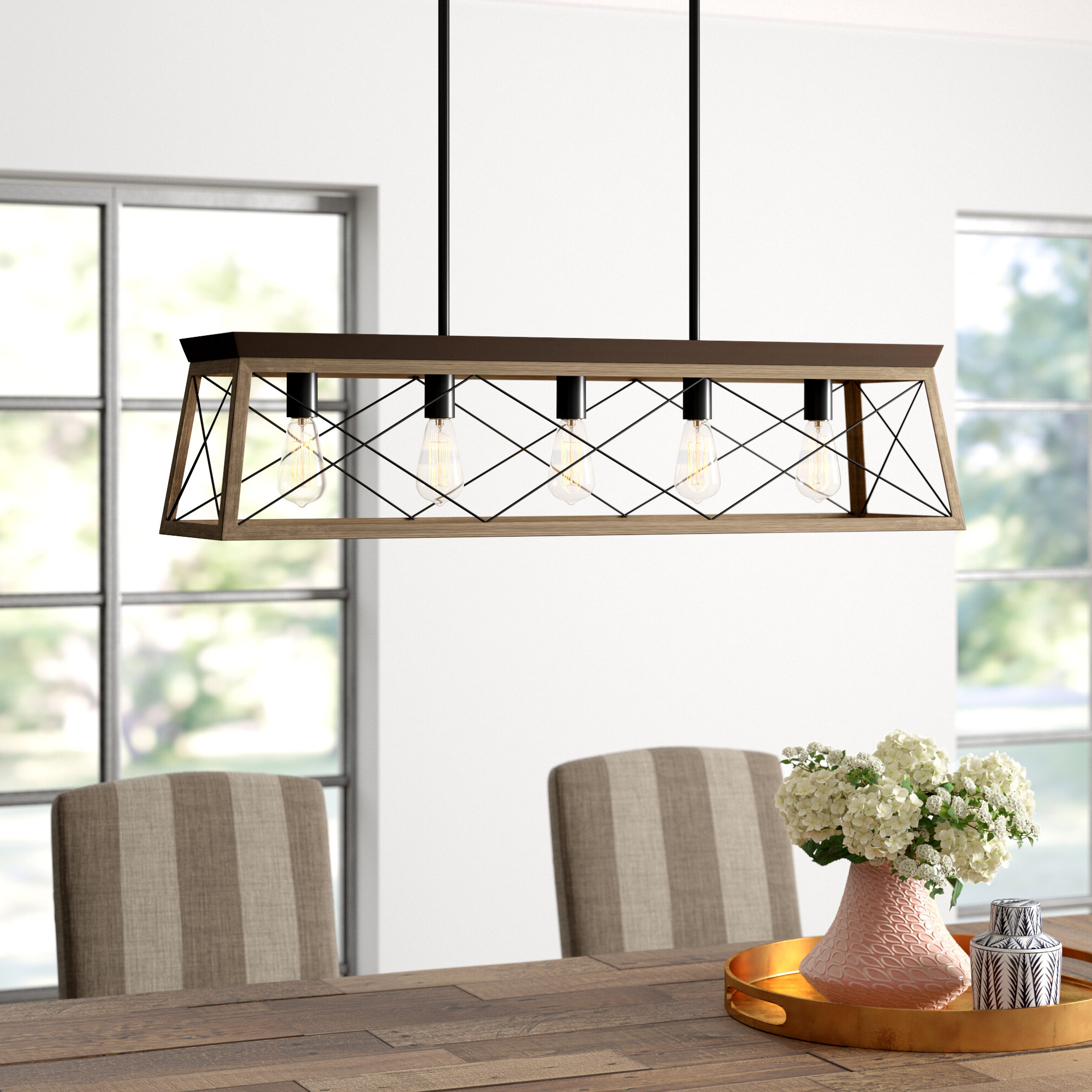 Freemont 5 Light Kitchen Island Linear Chandeliers With Regard To Most Popular Delon 5 Light Kitchen Island Linear Pendant (Gallery 5 of 20)