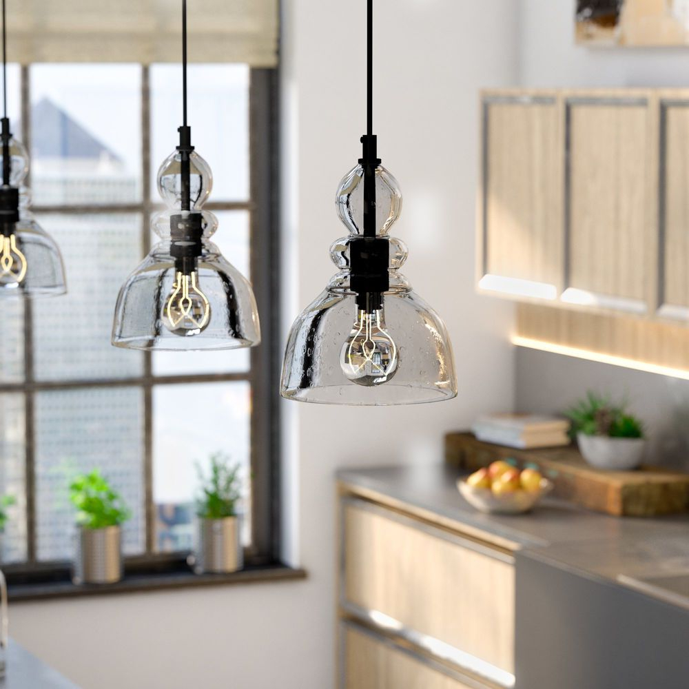 Fresno Dome 1 Light Bell Pendants Pertaining To 2019 Kitchen Pendant Light Bell Glass Clear Retro Industrial (View 10 of 20)