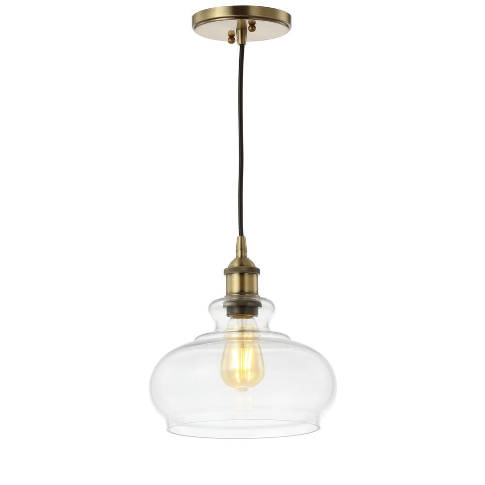 Fresno Dome 1 Light Bell Pendants Throughout Current Jonathan Y Wyatt 9.5 In. 1 Light Brass Gold Adjustable Drop (Gallery 14 of 20)