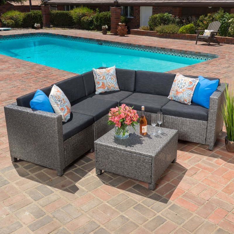 Furst Patio Sofas With Cushion Inside Most Popular Furst 6 Piece Sectional Set With Cushions (View 15 of 20)