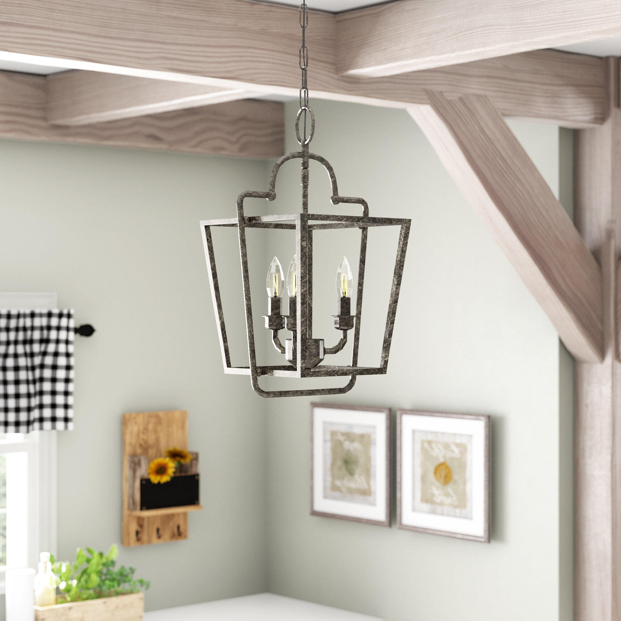 Gabriella 3 Light Lantern Chandeliers Inside Best And Newest Gracie Oaks Seraphina 3 Light Lantern Geometric Pendant (View 7 of 20)