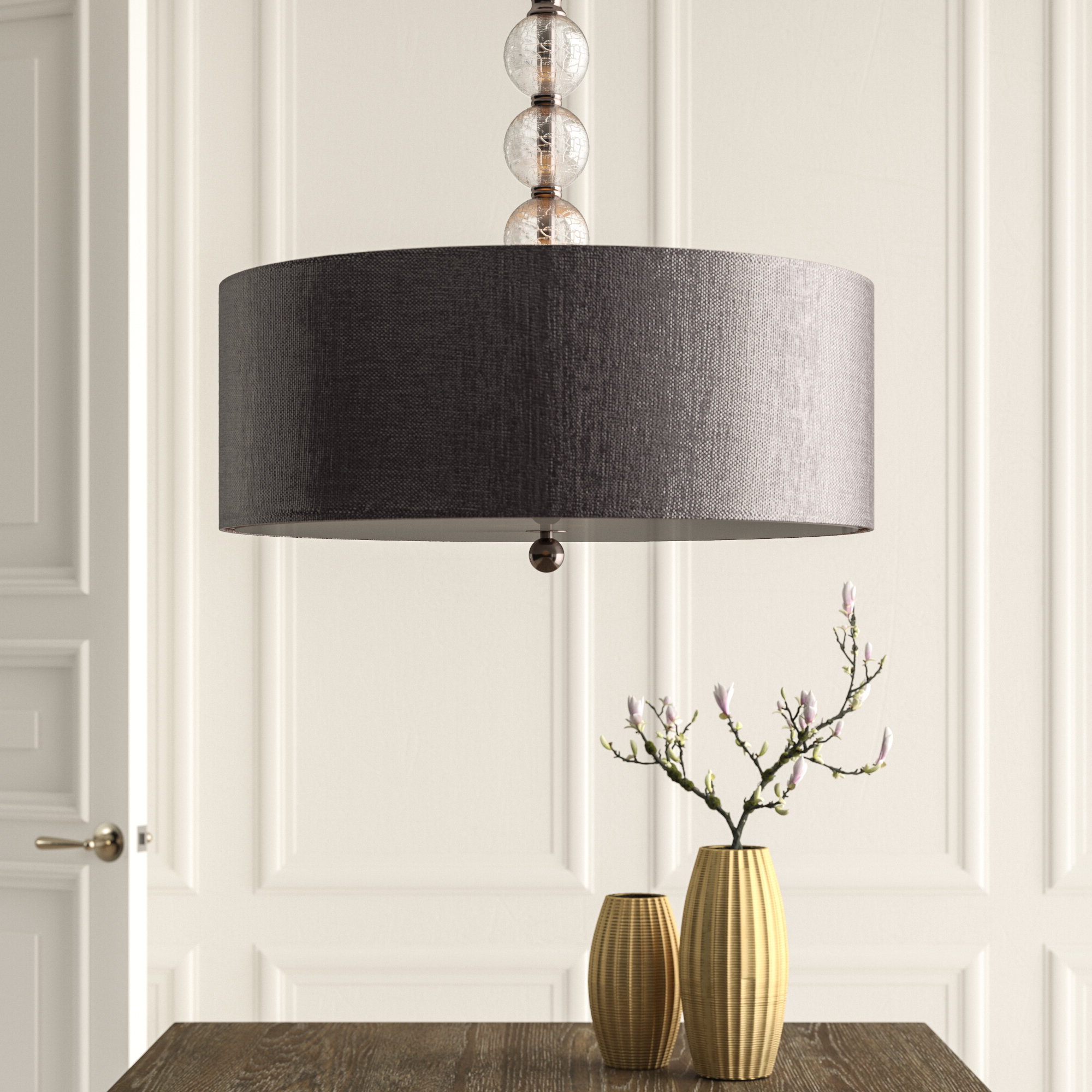 Gaetan 3 Light Single Drum Pendant Intended For Well Known Friedland 3 Light Drum Tiered Pendants (View 9 of 20)