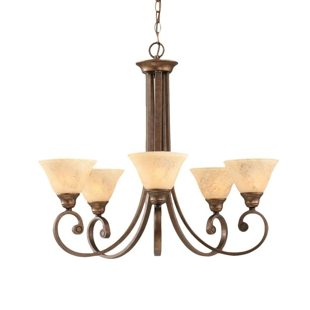 Gaines 5 Light Shaded Chandeliers Regarding Latest Filament Design Concord Series 5 Light Bronze Chandelier (View 9 of 20)