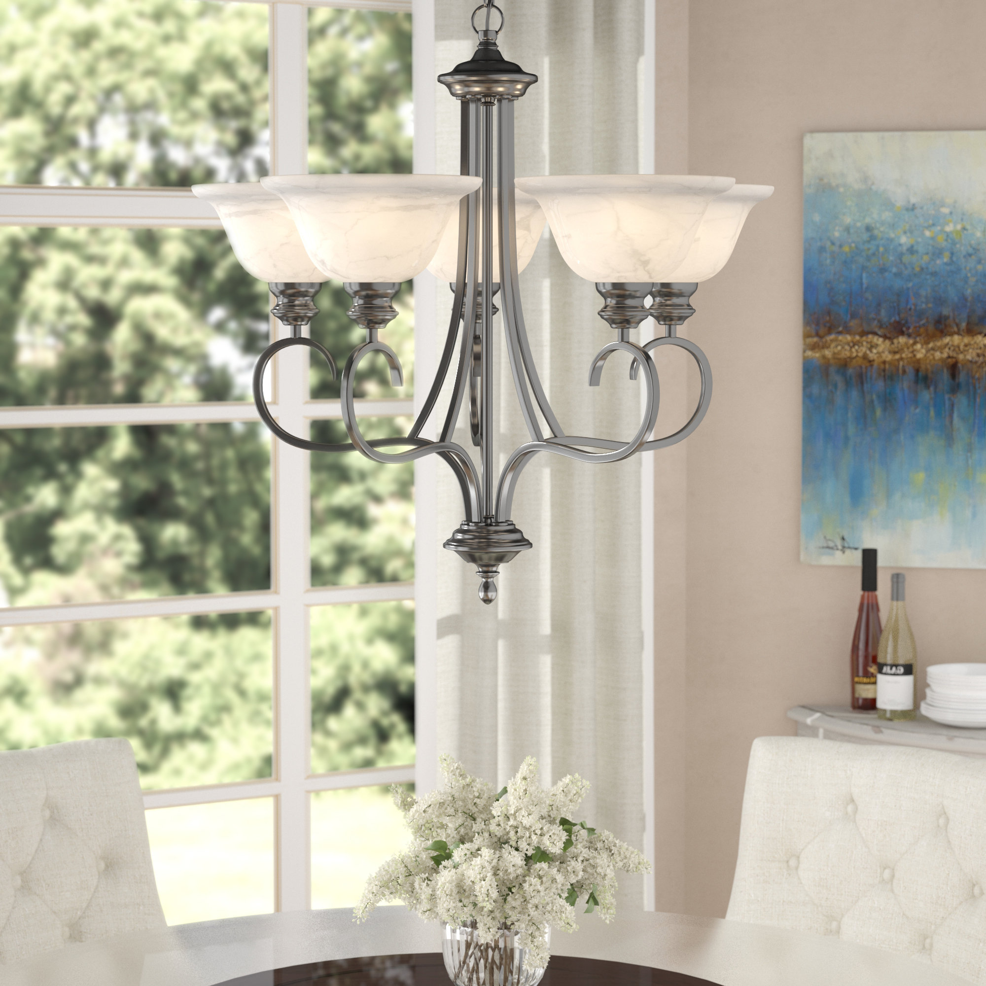 Gaines 5 Light Shaded Chandeliers Within Trendy Newson 5 Light Shaded Chandelier (View 11 of 20)