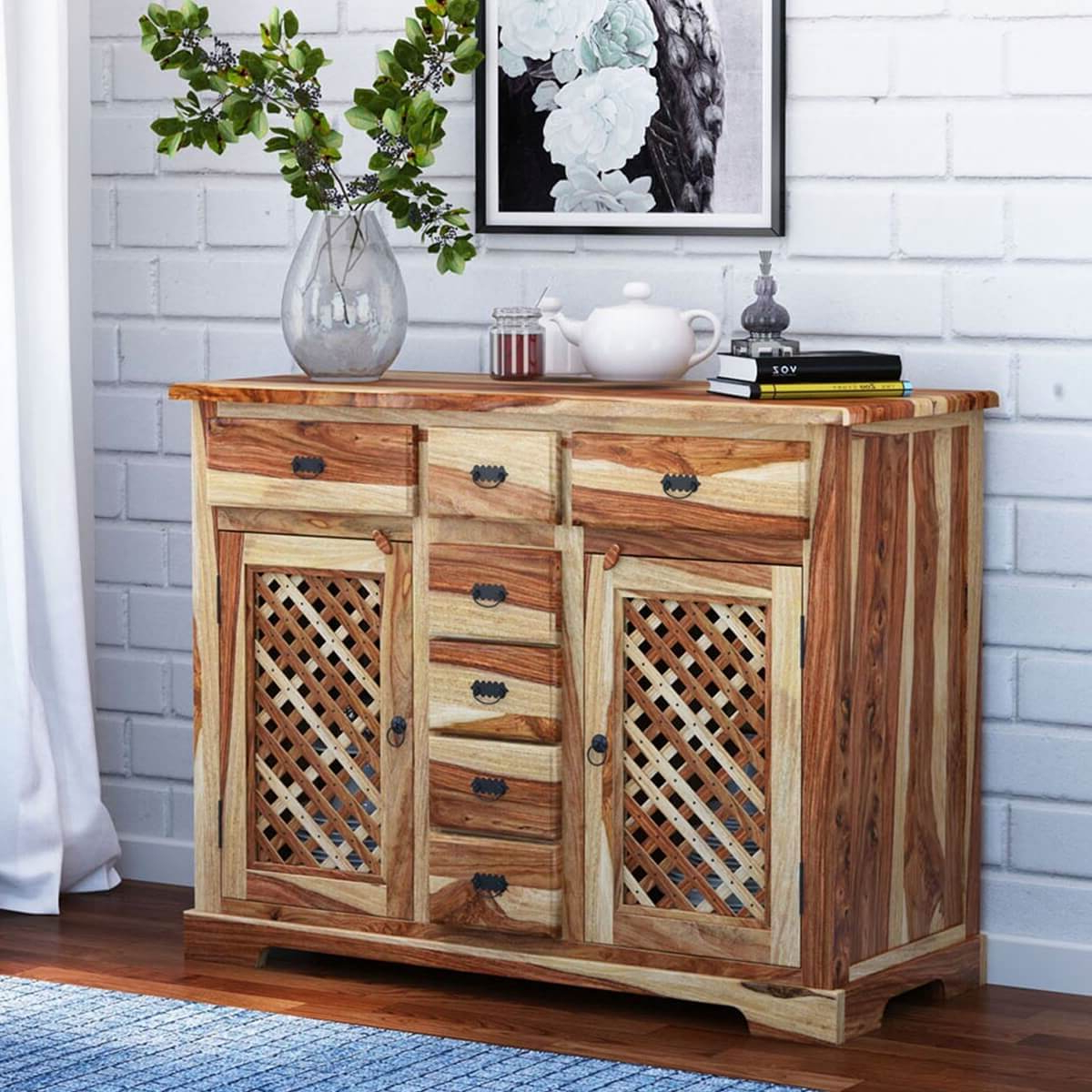 Galena Rustic Solid Wood Lattice Door 7 Drawer Sideboard Inside 2019 Courtdale Sideboards (View 18 of 20)