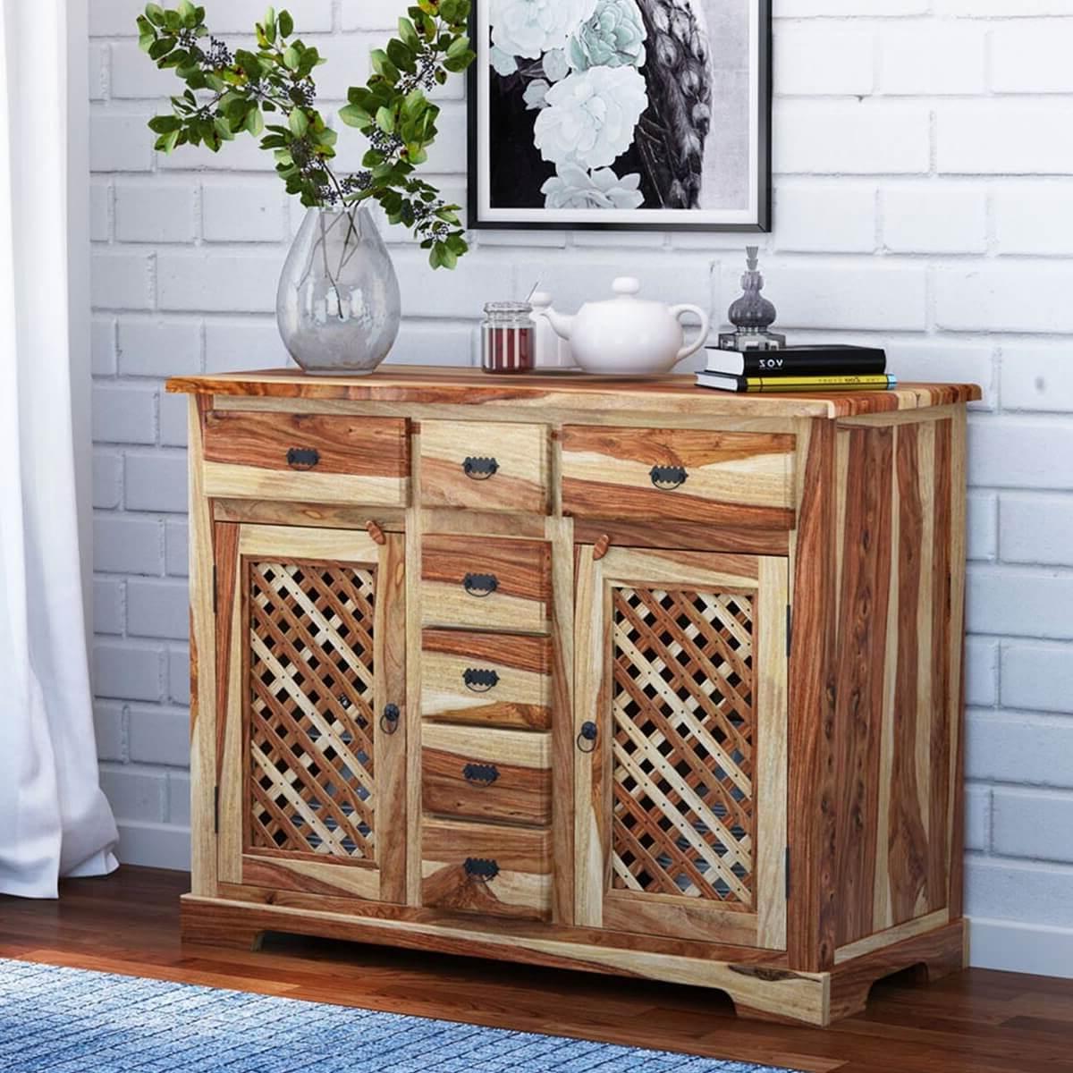 Galena Rustic Solid Wood Lattice Door 7 Drawer Sideboard Inside 2019 Courtdale Sideboards (View 8 of 20)