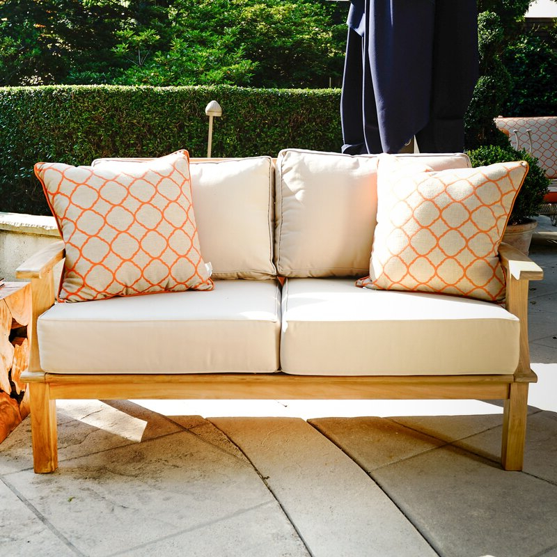 Galvan Outdoor Teak Loveseat With Cushion Pertaining To Trendy Mansfield Teak Loveseats With Cushion (Gallery 13 of 20)