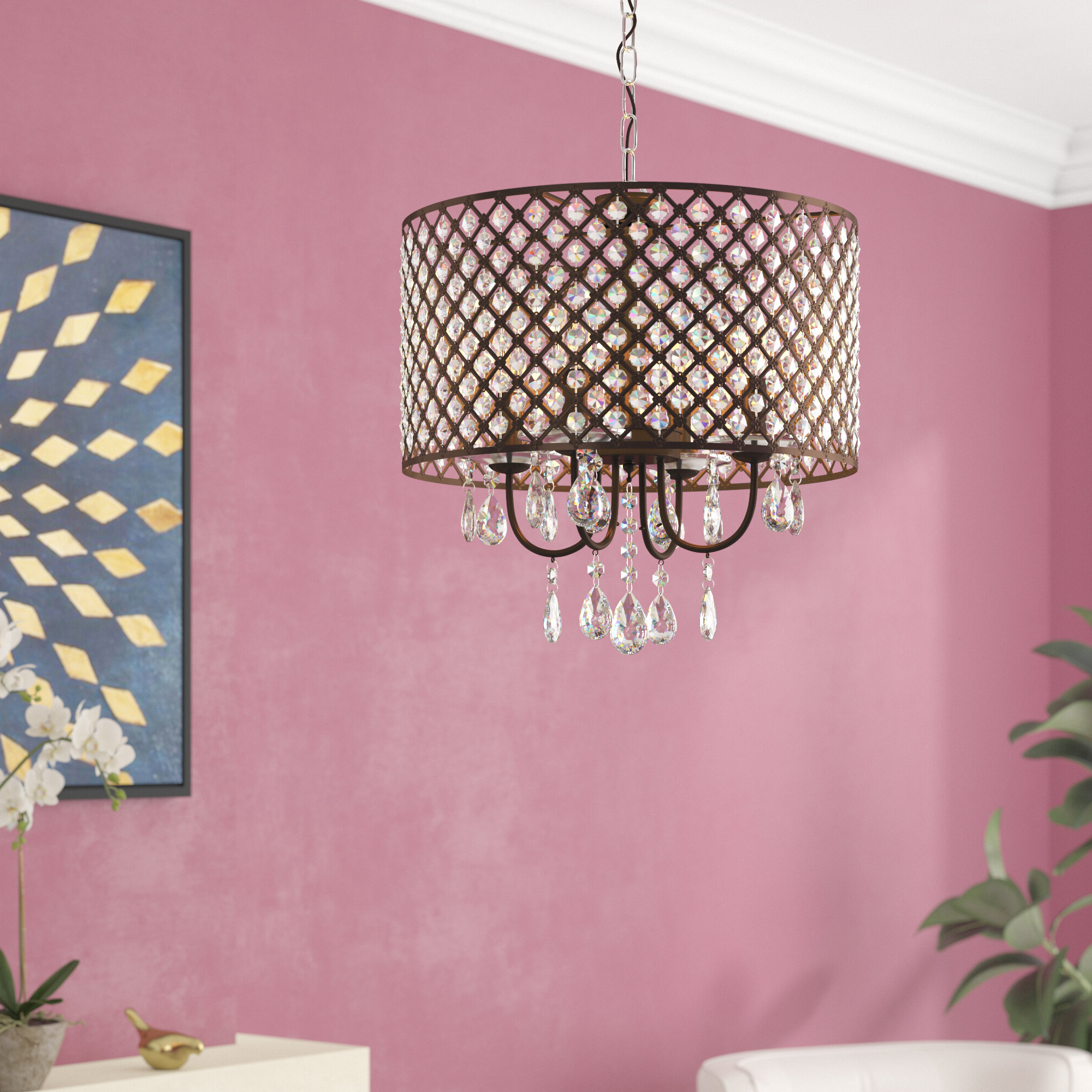 Gautier 4 Light Drum Chandelier Within Latest Gisselle 4 Light Drum Chandeliers (Gallery 8 of 20)