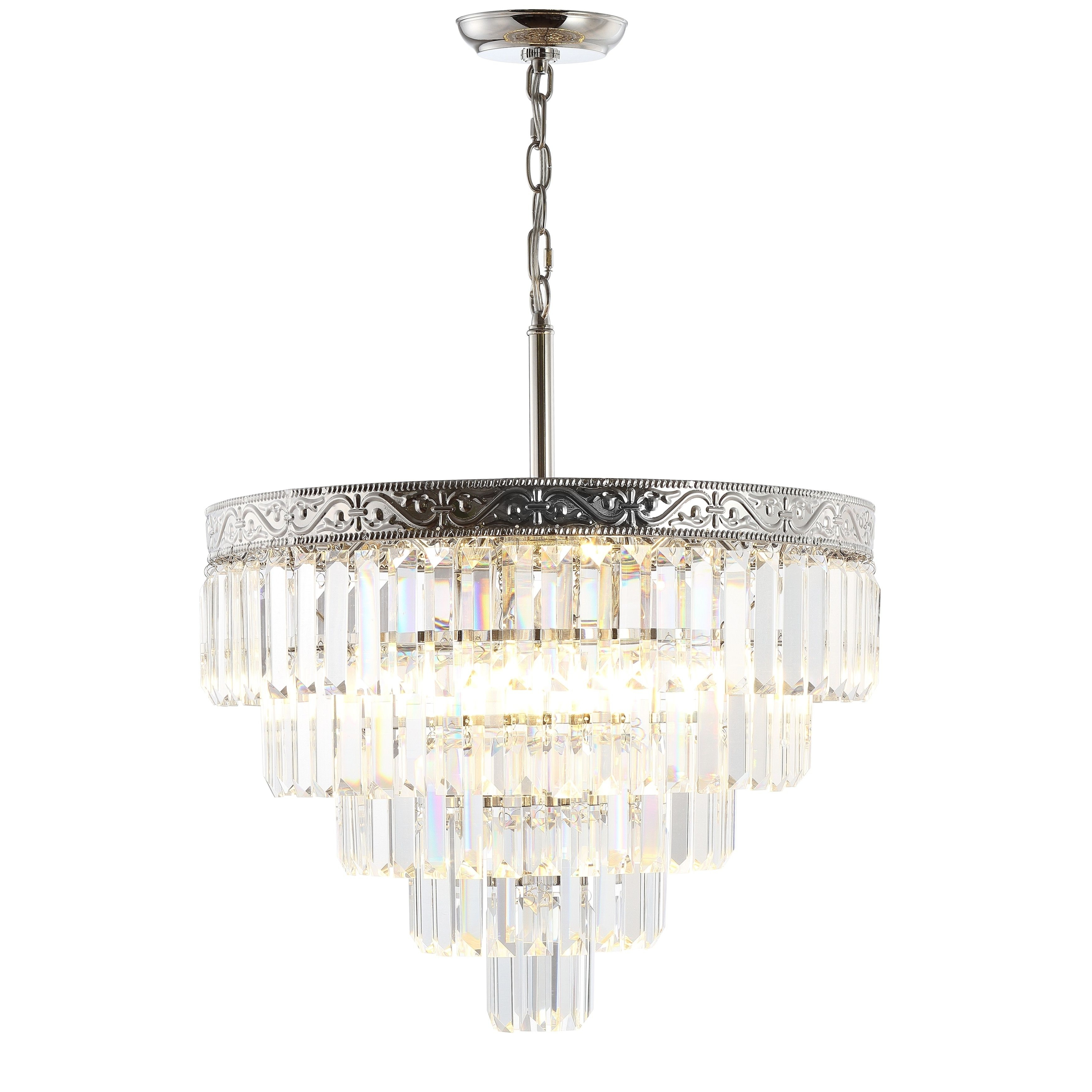 Gisselle 4 Light Drum Chandeliers Throughout Well Known Jonathan Y Wyatt 20 4 Light Crystal Led Chandelier, Polished (View 7 of 20)