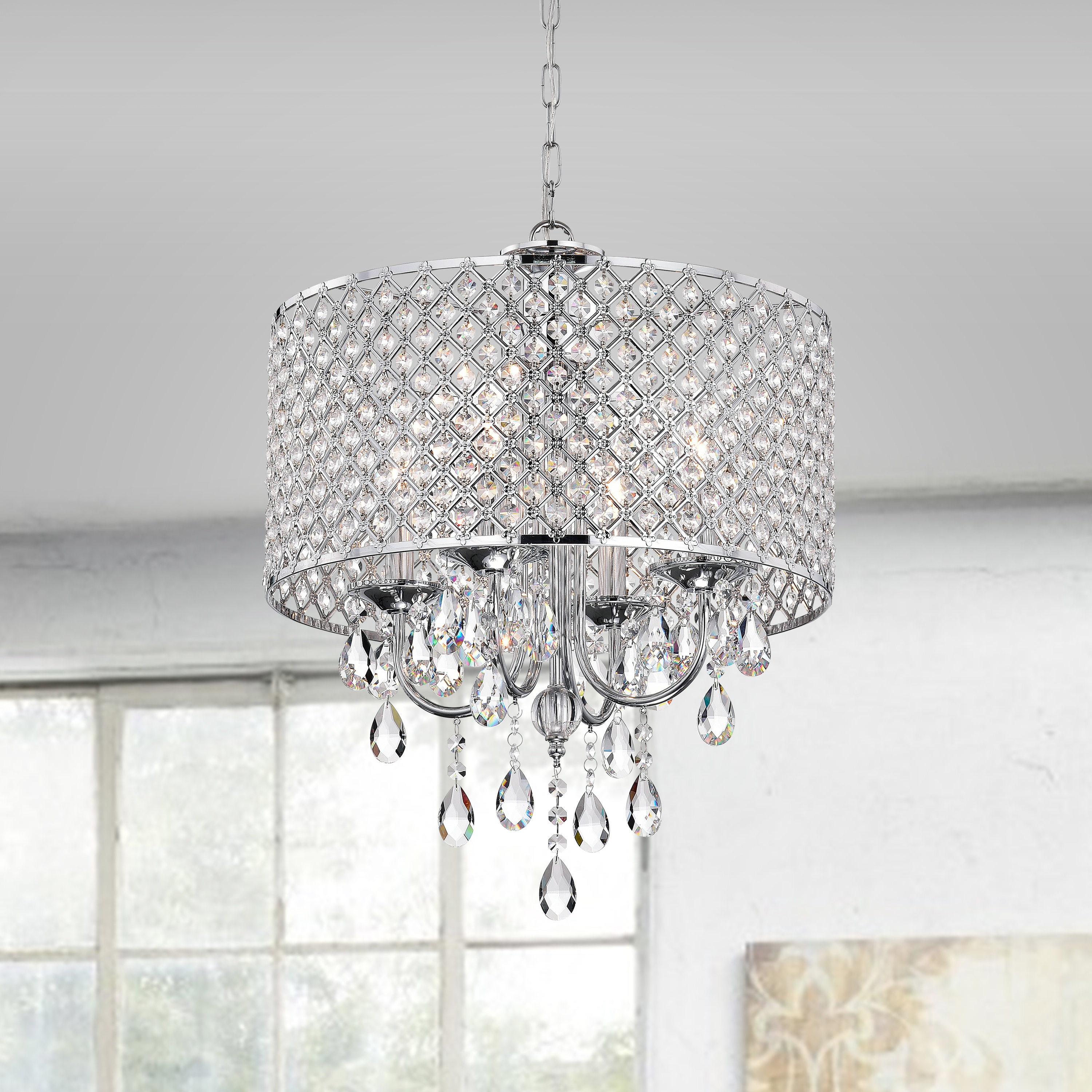 Gisselle 4 Light Drum Chandeliers With Fashionable Aldgate 4 Light Crystal Chandelier (Gallery 17 of 20)