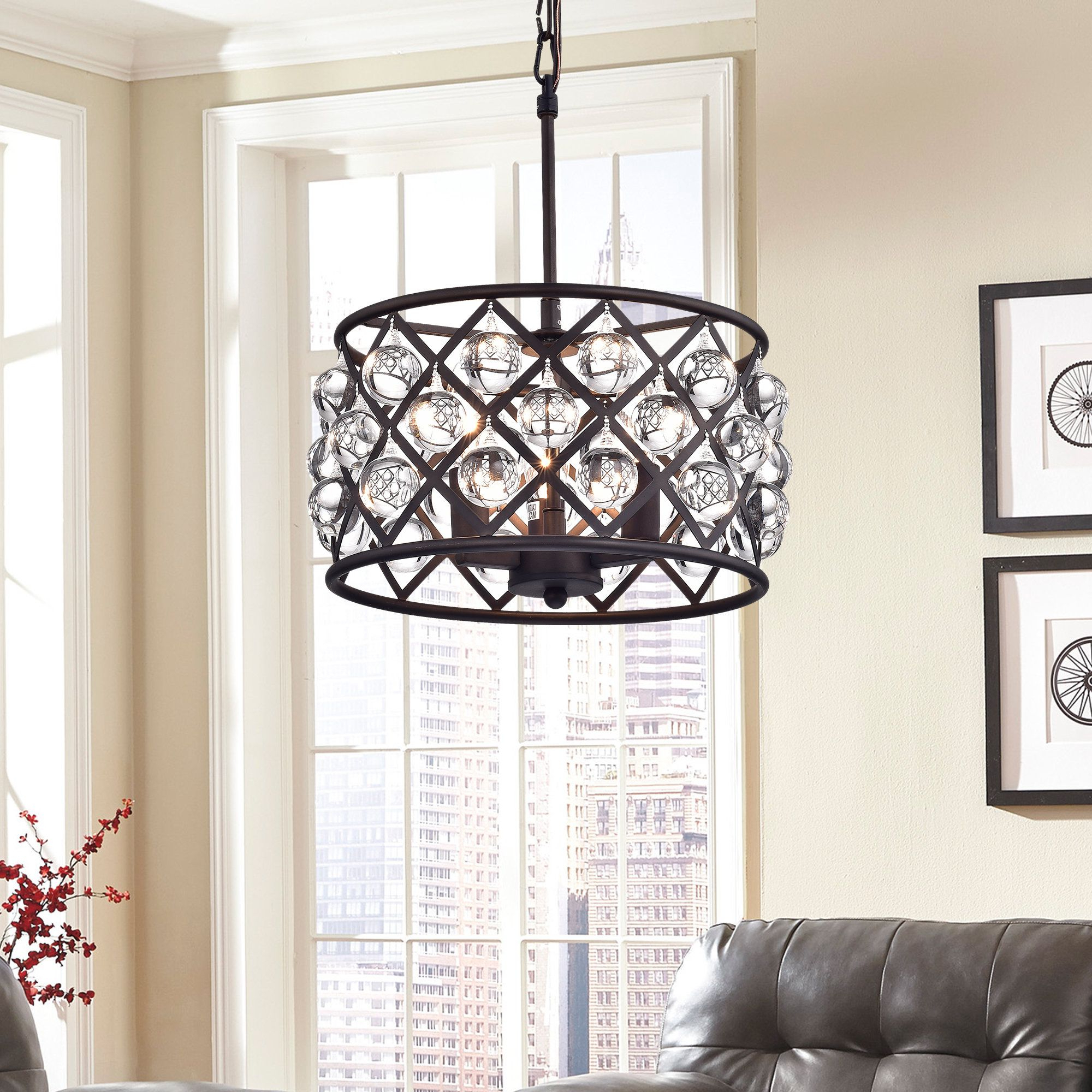 Gisselle 4 Light Drum Chandeliers With Regard To Well Liked Warehouse Of Tiffany Branna Antique Bronze 11 Inch Round (Gallery 15 of 20)