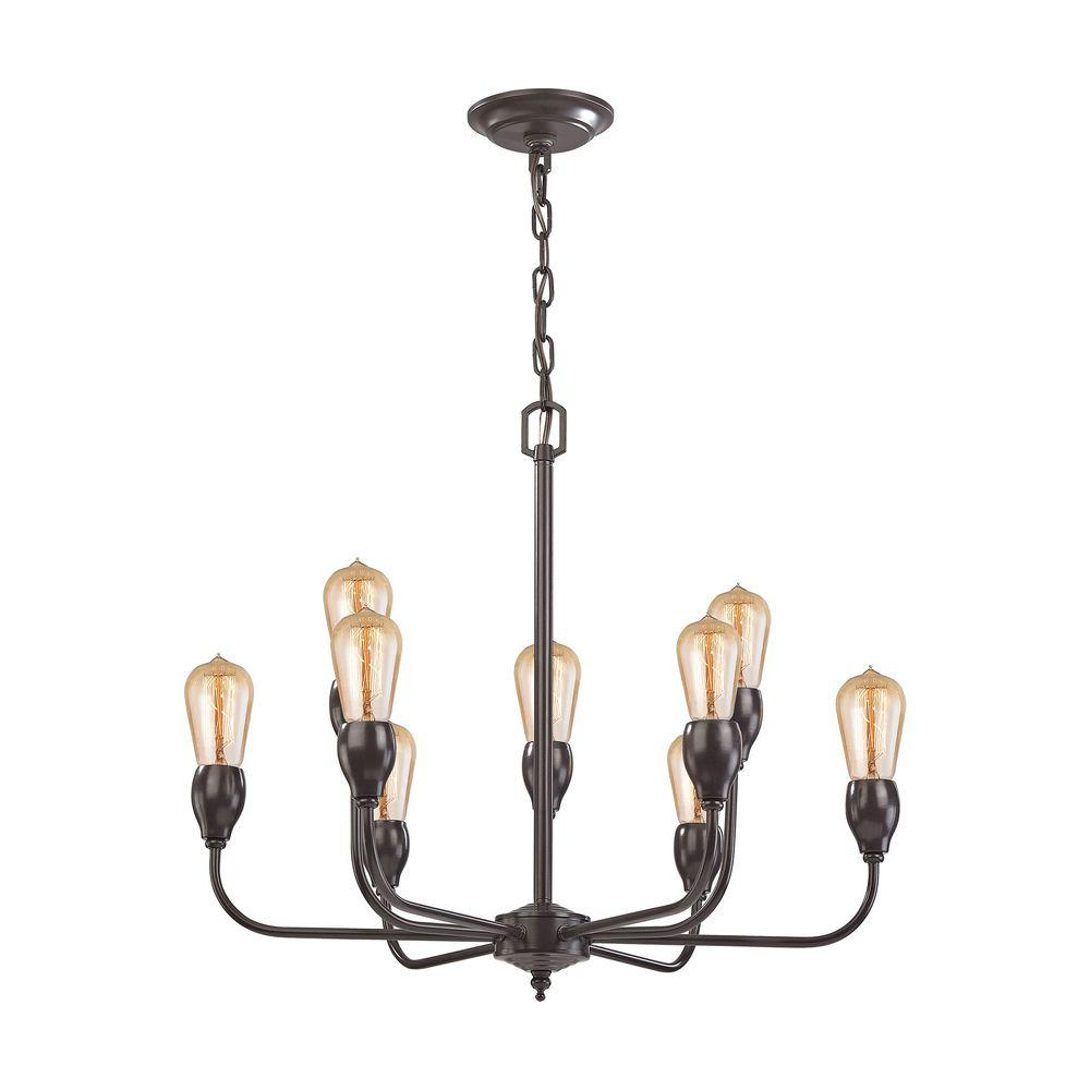 Giverny 9 Light Candle Style Chandeliers In Current Titan Lighting Vernon 9 Light Oil Rubbed Bronze Chandelier (View 5 of 20)