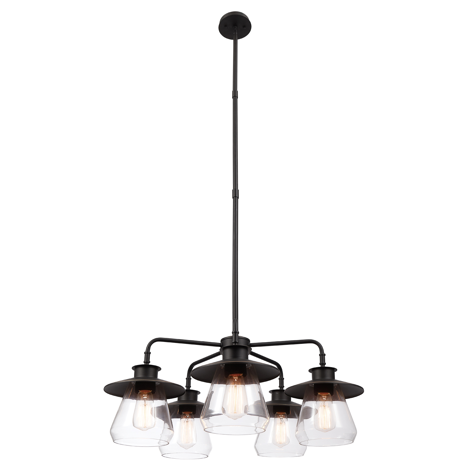 Globe Electric Nate 5 Light Oil Rubbed Bronze Chandelier With Clear Glass Shades,60471 Inside Current Novogratz Vintage 5 Light Kitchen Island Bulb Pendants (View 14 of 20)