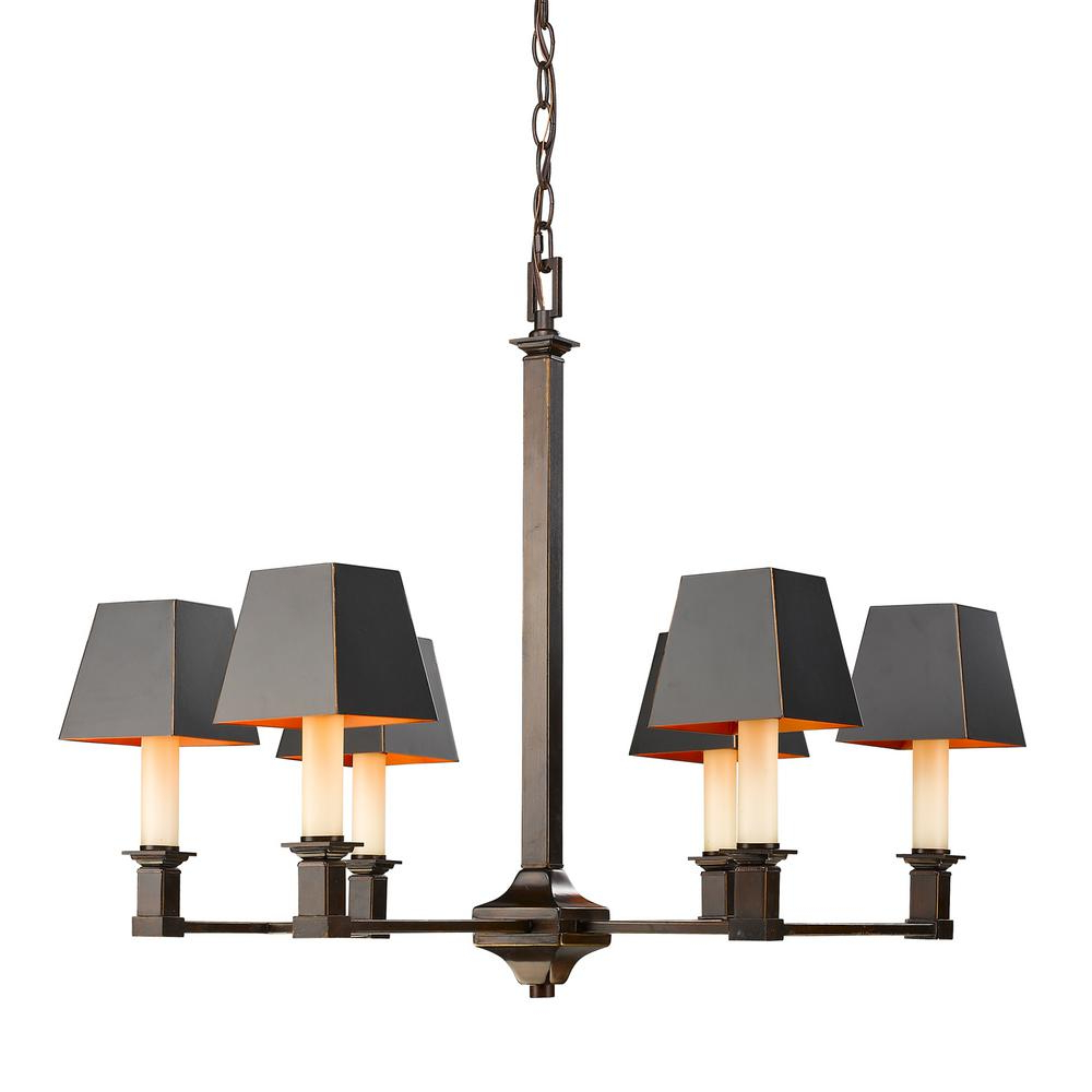 Golden Lighting Bradley 6 Light Cordoban Bronze Chandelier With Black Metal  Shades Throughout Newest Bouchette Traditional 6 Light Candle Style Chandeliers (Gallery 12 of 20)