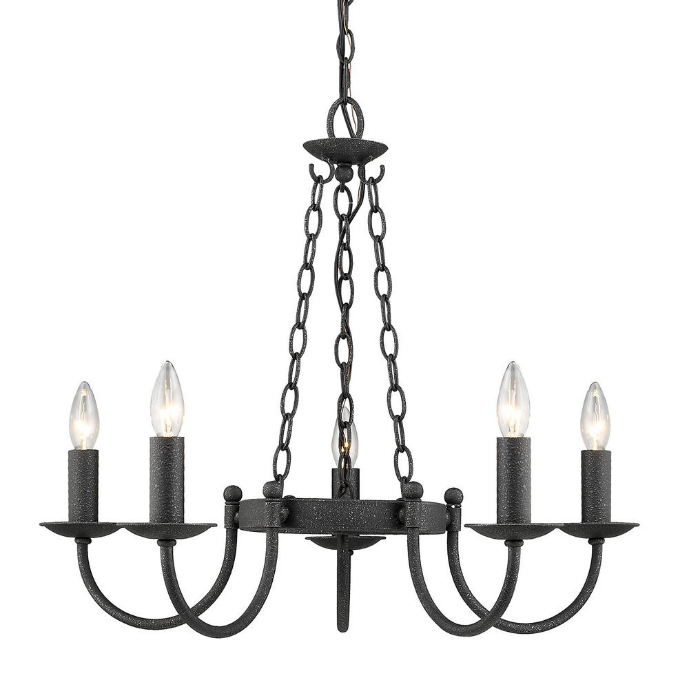 Golden Lighting Diaz 5 Light Black Iron Chandelier Intended For Most Popular Diaz 6 Light Candle Style Chandeliers (View 9 of 20)