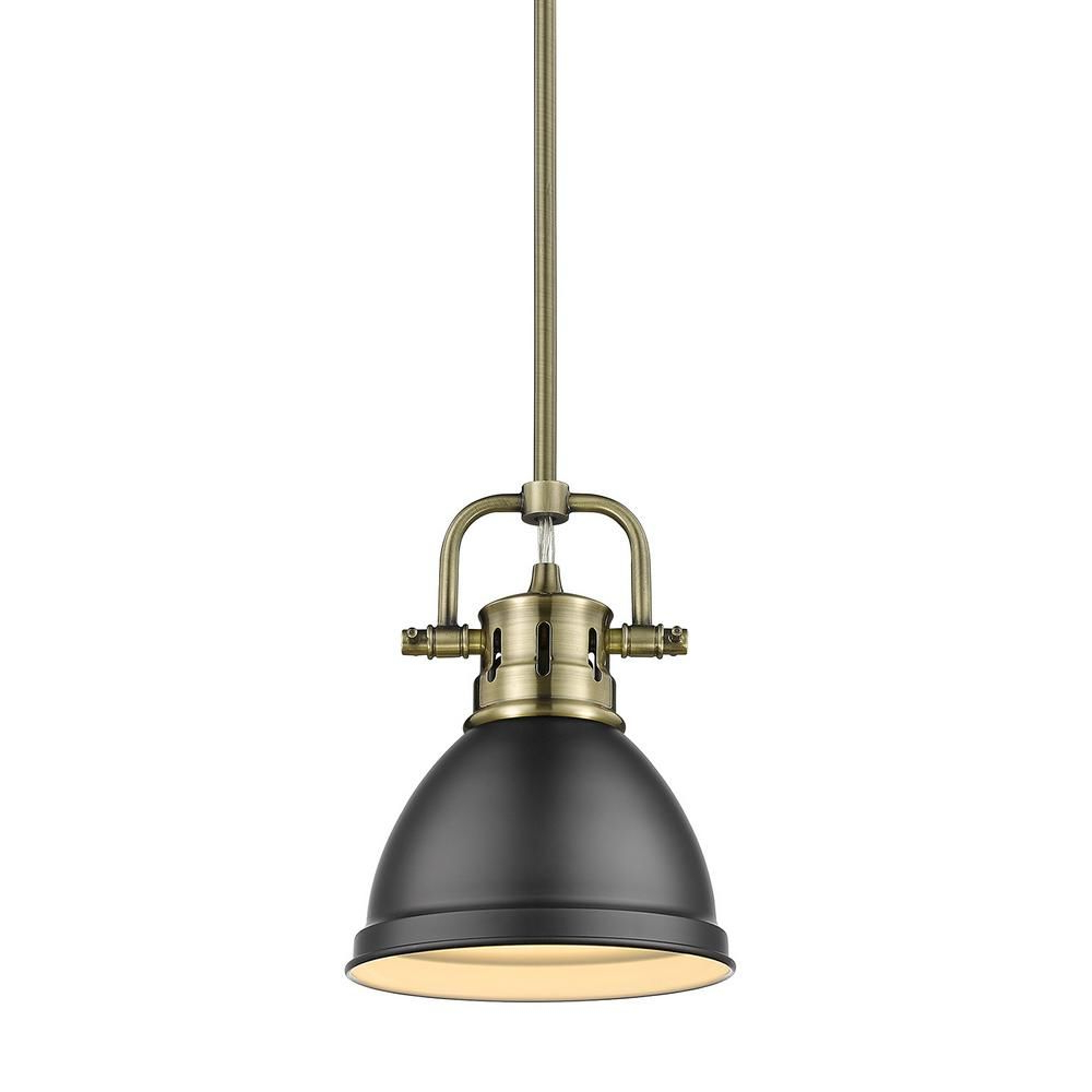 Golden Lighting Duncan 1 Light Aged Brass Mini Pendant And With Regard To Recent Southlake 1 Light Single Dome Pendants (Gallery 15 of 20)