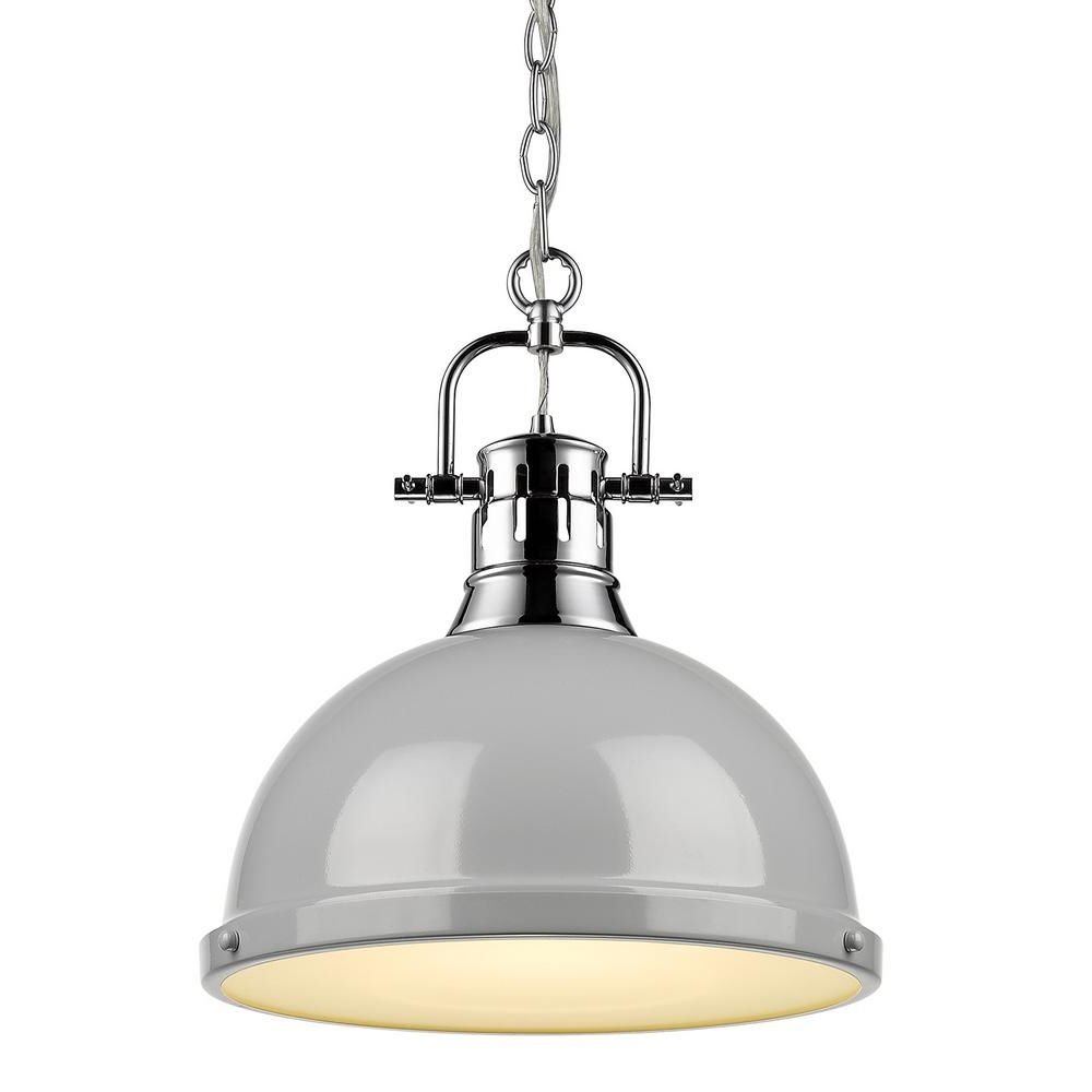 Golden Lighting Duncan 1 Light Chrome Pendant And Chain With With Well Liked Bodalla 1 Light Single Dome Pendants (Gallery 20 of 20)