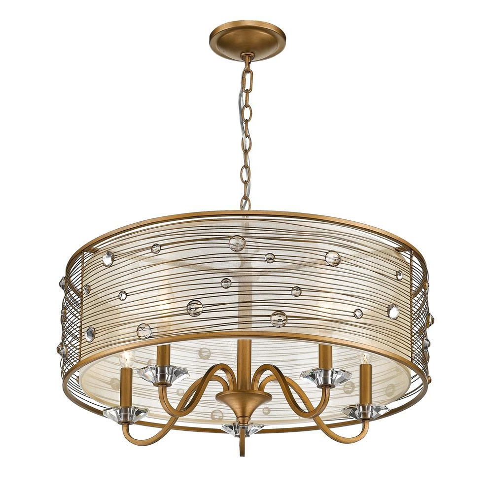 Golden Lighting Joia 5 Light Peruvian Gold Chandelier Light For 2020 Hermione 5 Light Drum Chandeliers (View 4 of 20)