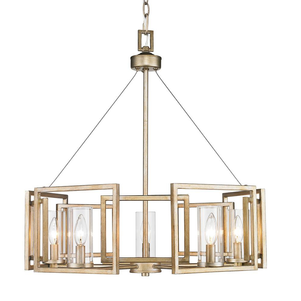 Golden Lighting Marco 5 Light White Gold Chandelier With Clear Glass Shade Inside Most Recent Thresa 5 Light Shaded Chandeliers (View 2 of 20)