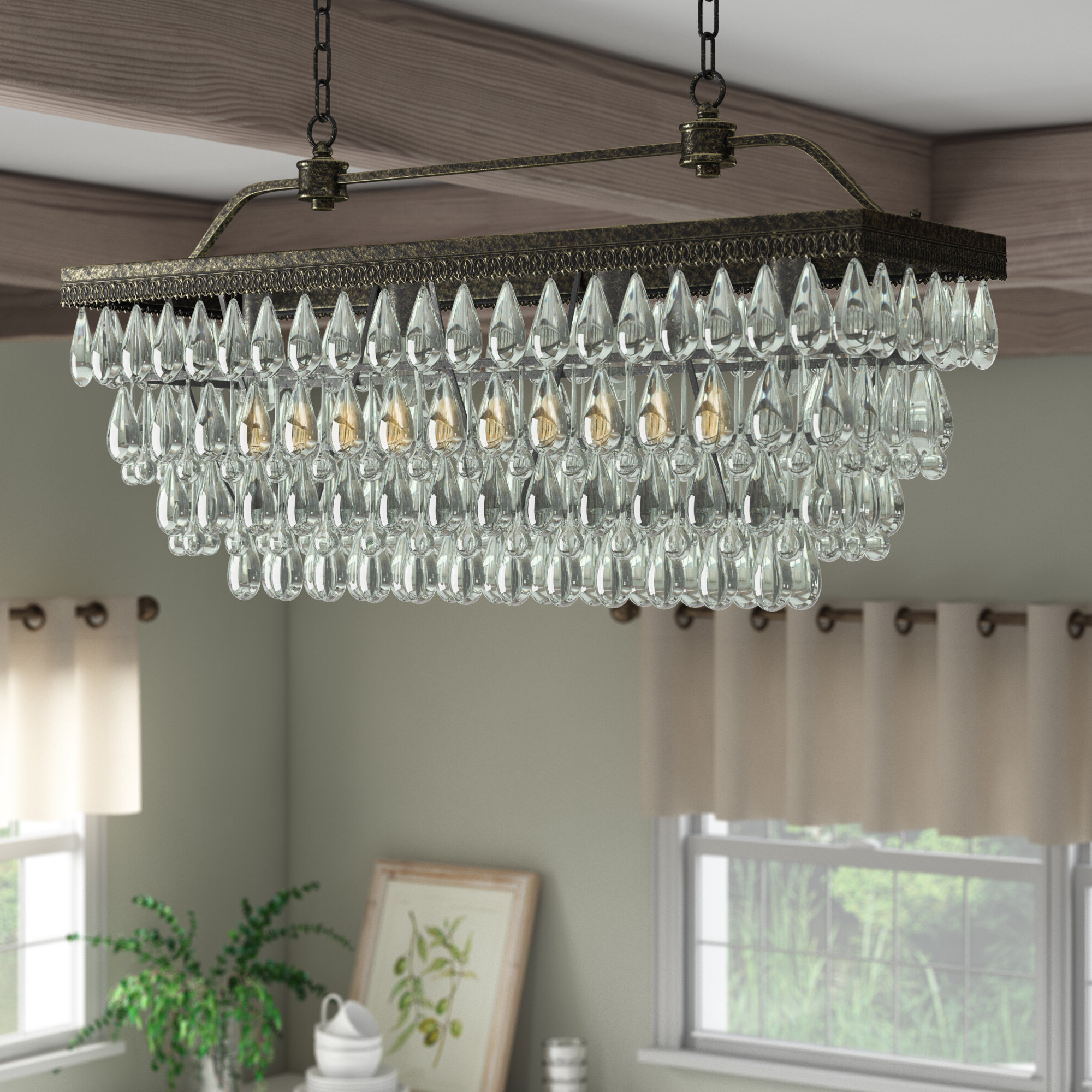 Gracelyn 8 Light Kitchen Island Pendants For Most Recent Rowell Rectangular Crystal 4 Light Kitchen Island Pendant (View 8 of 20)