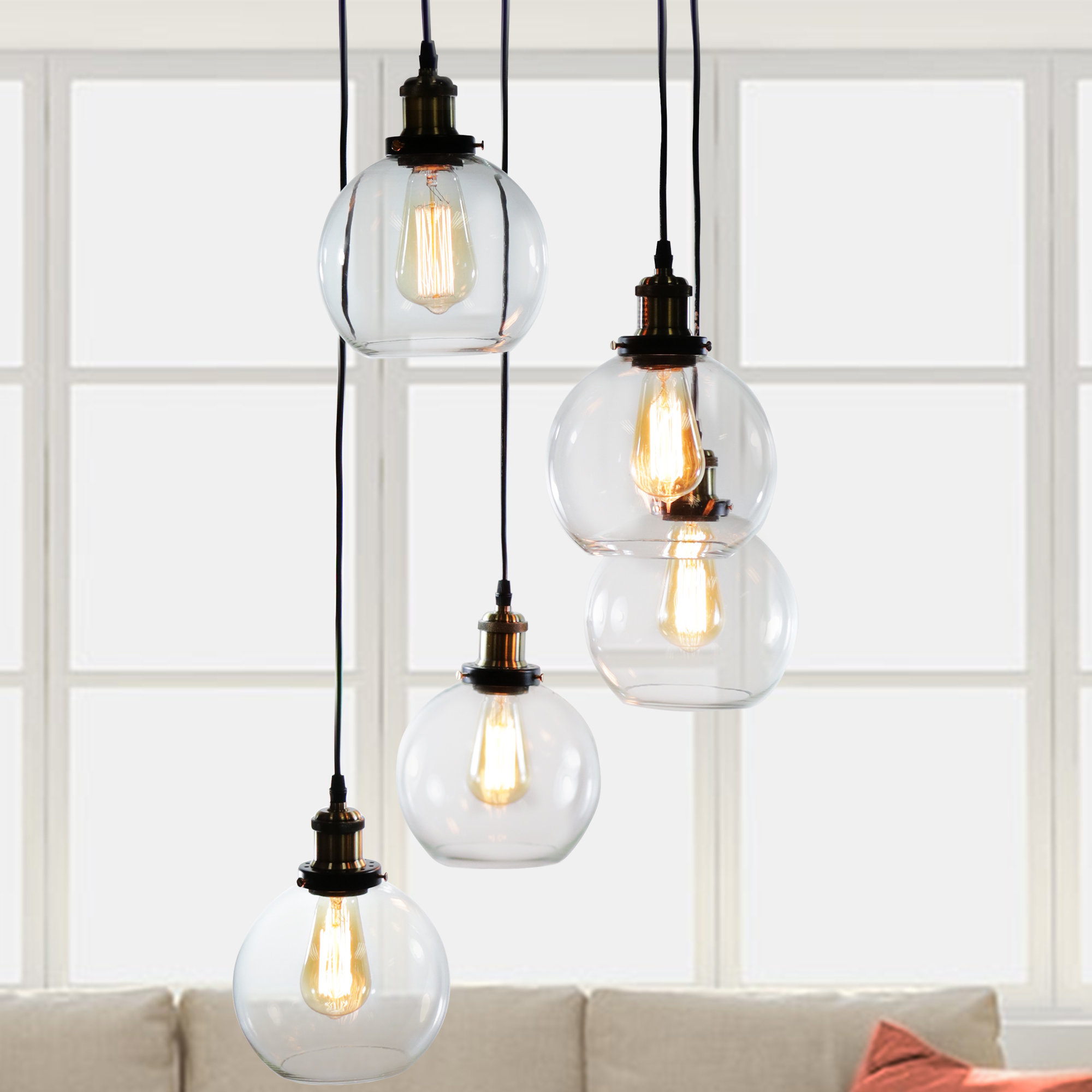 Gracie Oaks Buragate 5 Light Cluster Pendant With Latest Pruett Cognac Glass 8 Light Cluster Pendants (View 6 of 20)