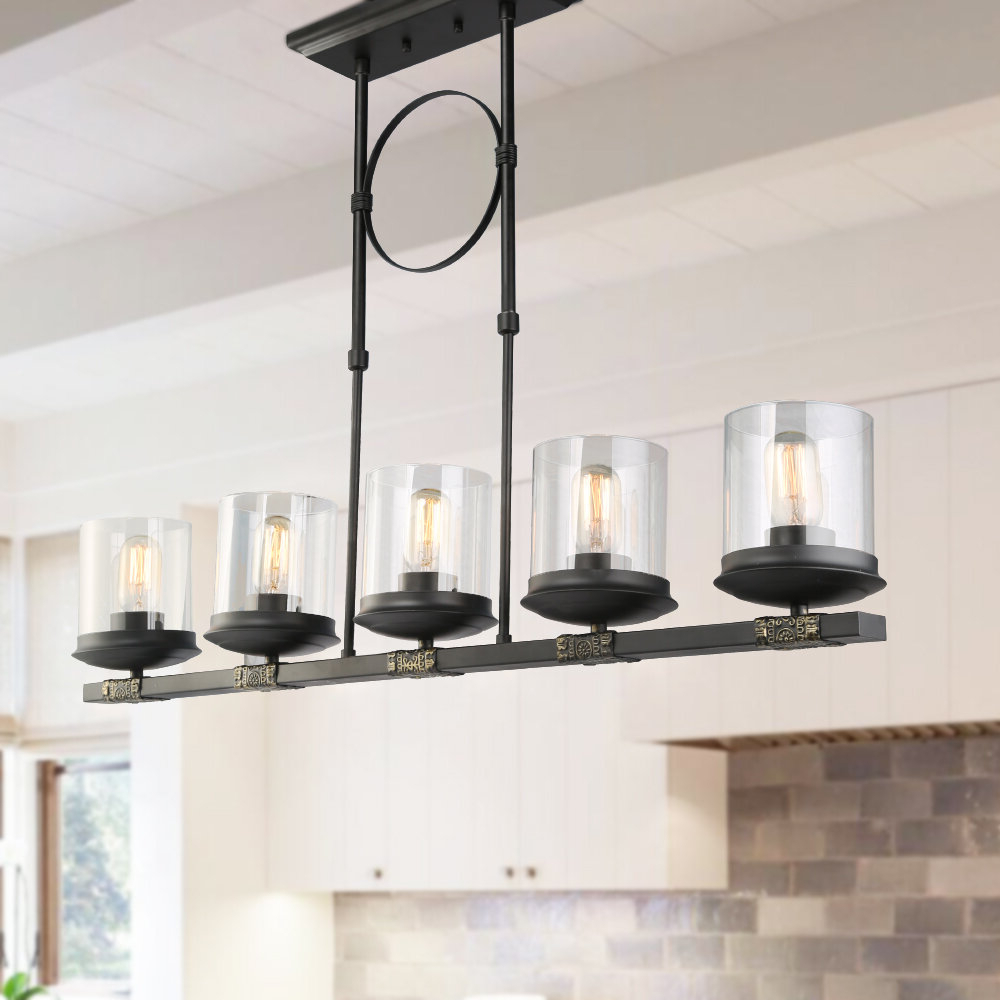 Gracie Oaks Dennis Retro Kitchen Linear Island Pendant Lighting, Clear  Glass Shade, Black Finish With Preferred Smithville 4 Light Kitchen Island Pendants (View 10 of 20)