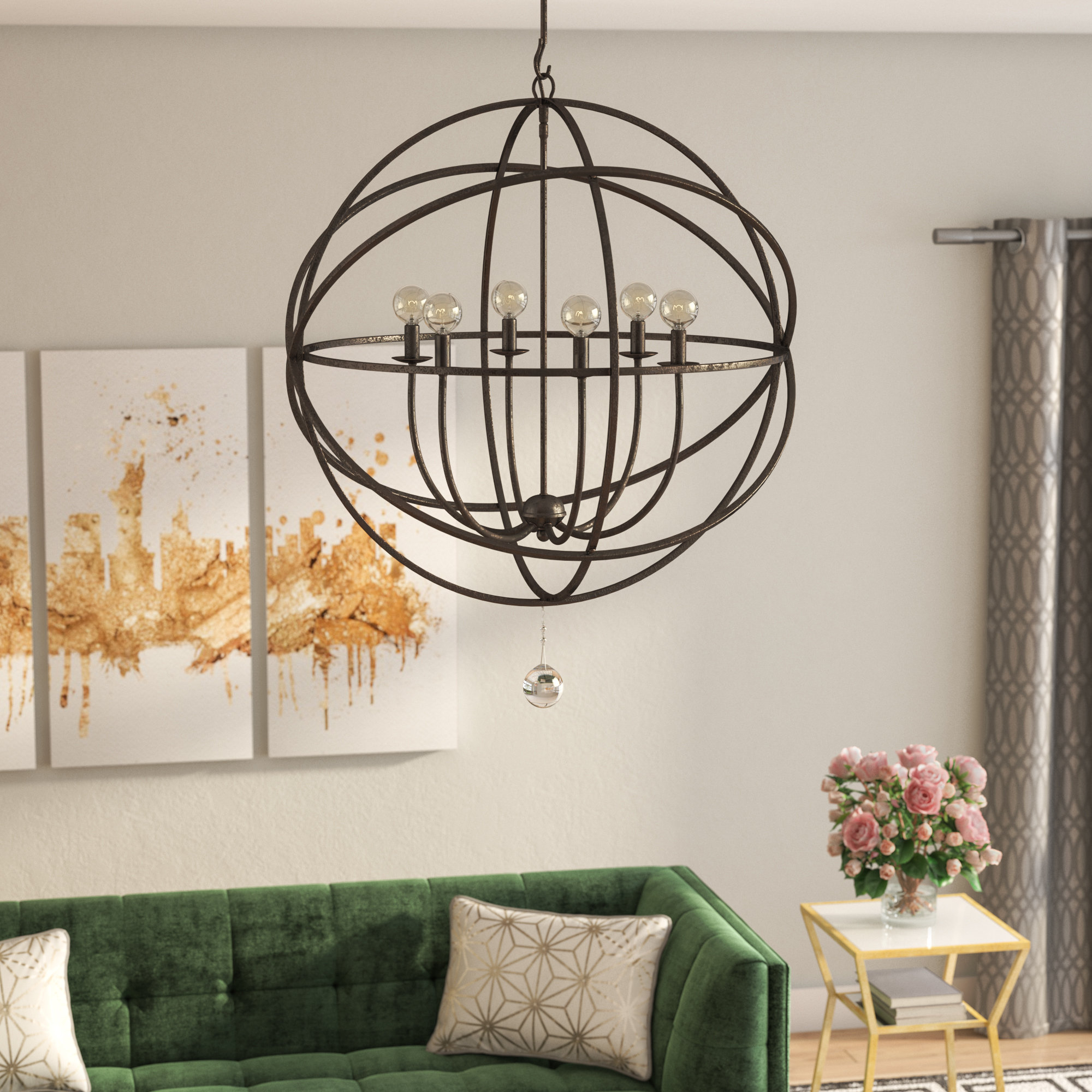 Gregoire 6 Light Globe Chandeliers Regarding 2019 Gregoire 6 Light Globe Chandelier (View 8 of 20)