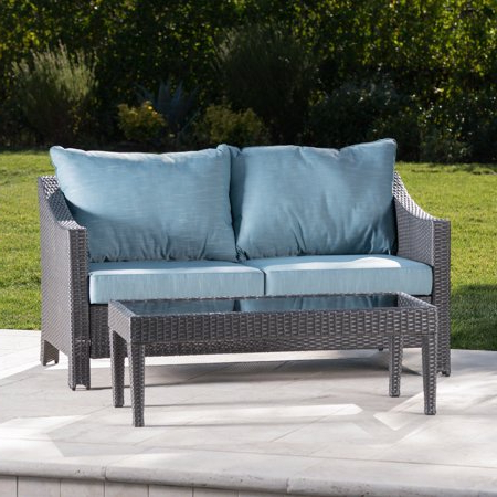 Gregory Outdoor Wicker Loveseat And Table Combo With Intended For Most Up To Date Kentwood Resin Wicker Loveseats (View 5 of 20)