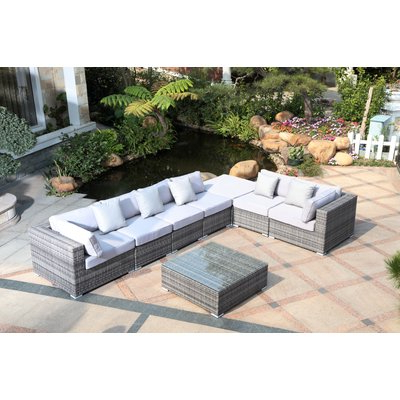 Greta Living Patio Sectionals With Cushions In Newest Latitude Run Villalta 8 Piece Sectional With Cushions In (View 12 of 20)