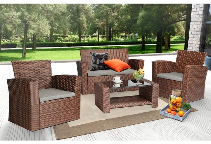 Greta Living Patio Sectionals With Cushions Within Fashionable Ebern Designs Edward 4 Piece Sofa Seating Group With (View 12 of 20)