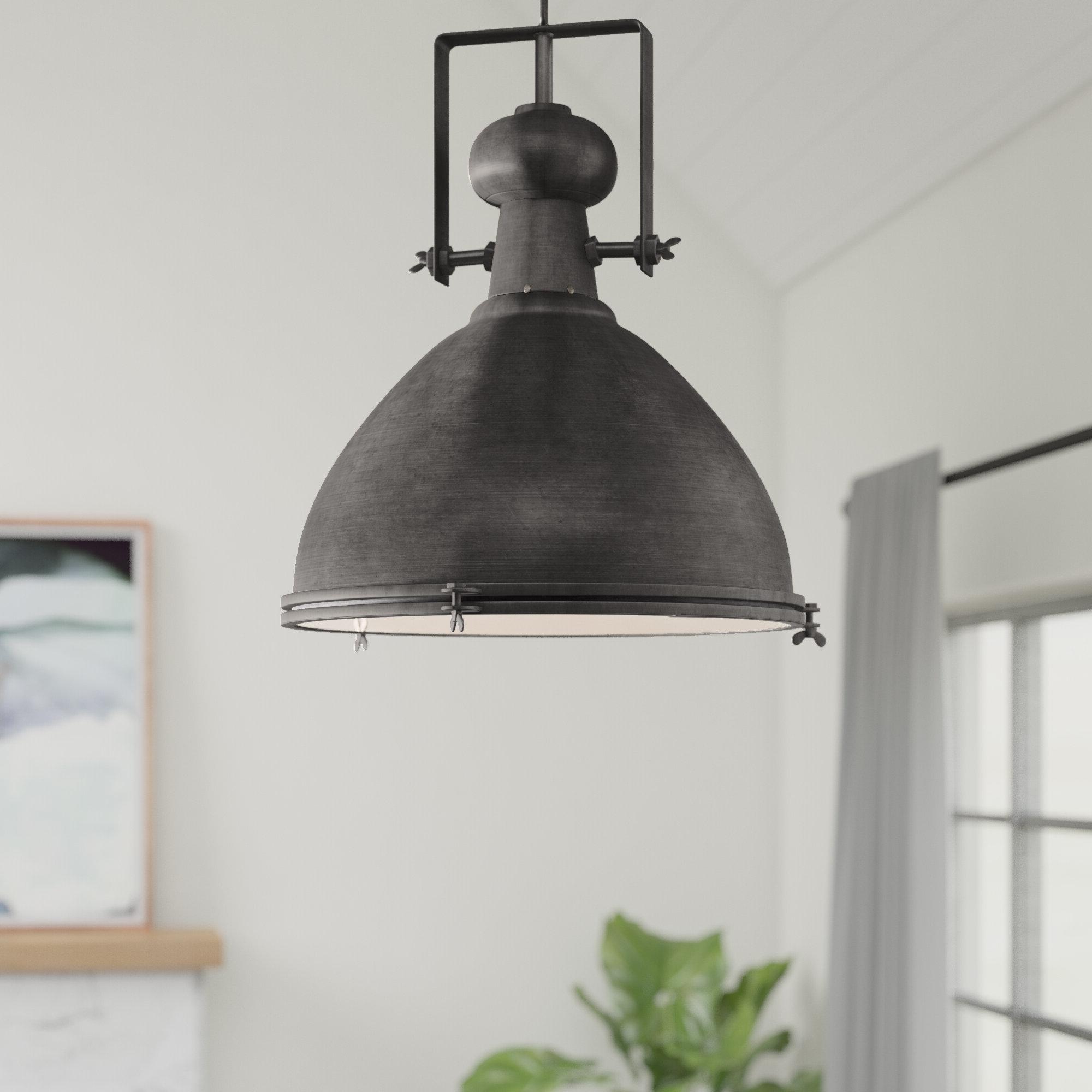 Grullon Scroll 1 Light Single Bell Pendants Inside Famous Lavern 1 Light Single Dome Pendant (View 6 of 20)