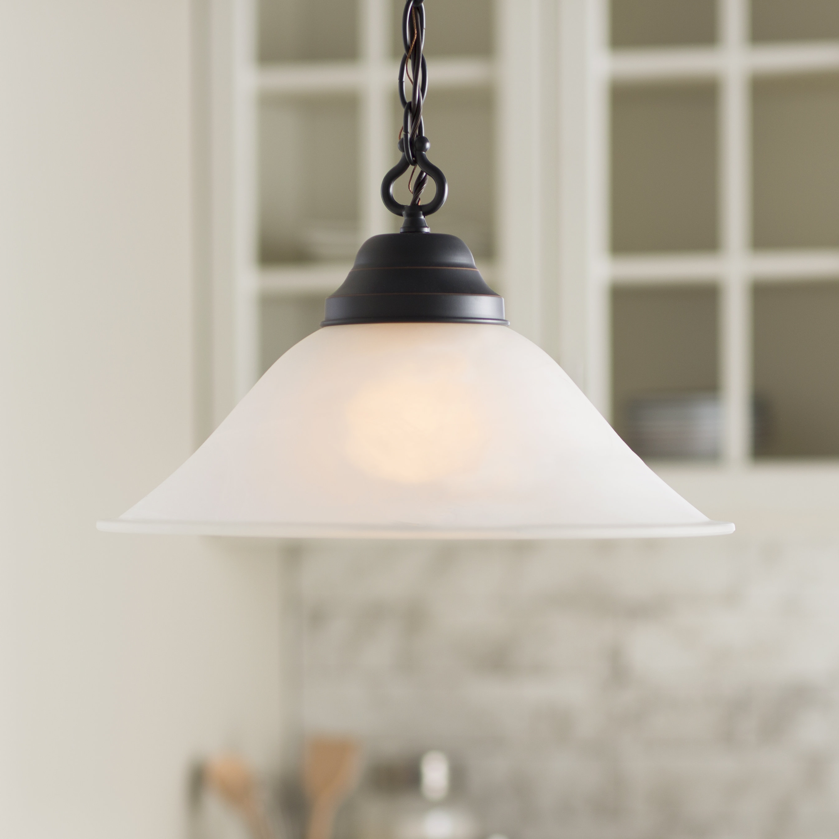 Grullon Scroll 1 Light Single Bell Pendants Inside Well Known Farmhouse & Rustic Fleur De Lis Living Pendants (View 6 of 20)