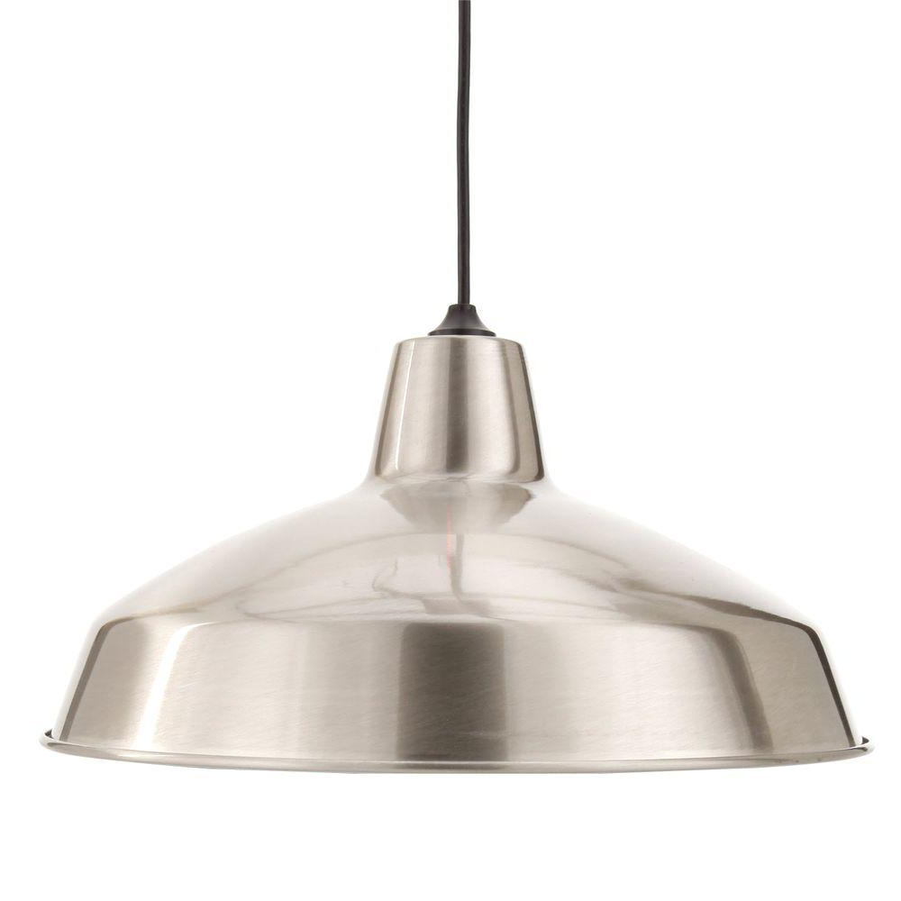 Hamilton 1 Light Single Dome Pendants Within Latest Hampton Bay 1 Light Brushed Nickel Warehouse Pendant (View 10 of 20)