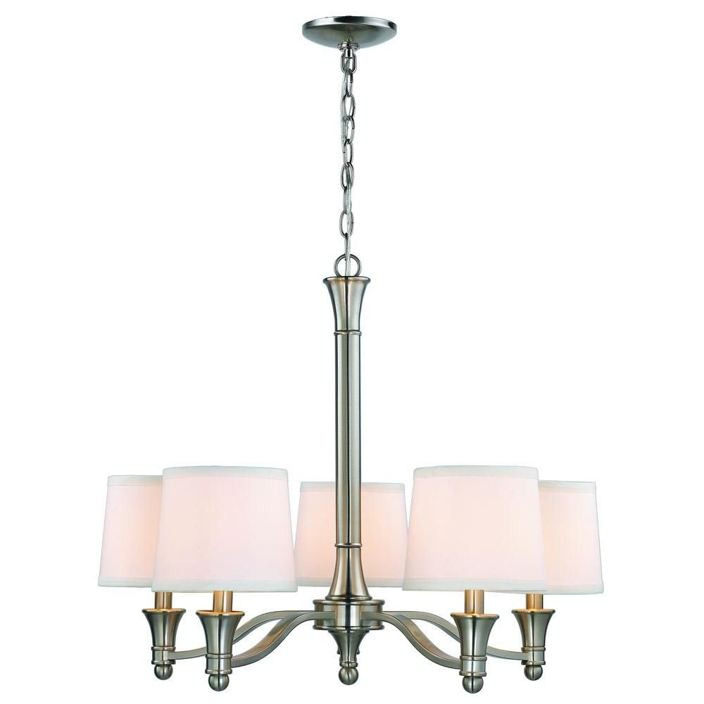 Hampton Bay 5 Light Brushed Nickel Chandelier With White Within Latest Crofoot 5 Light Shaded Chandeliers (View 17 of 20)