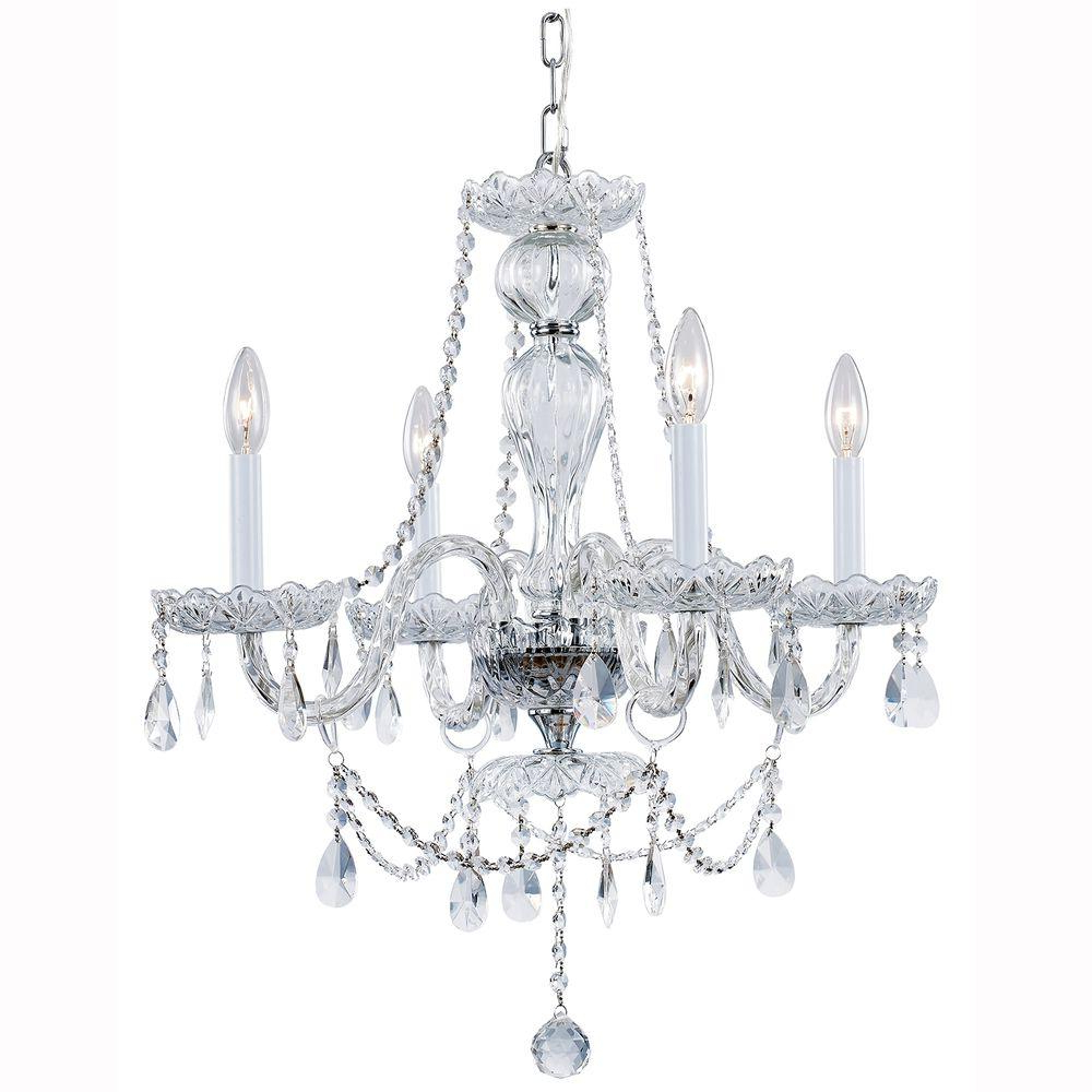 Hampton Bay Lake Point 4 Light Chrome And Clear Crystal Chandelier Pertaining To Popular Von 4 Light Crystal Chandeliers (View 6 of 20)