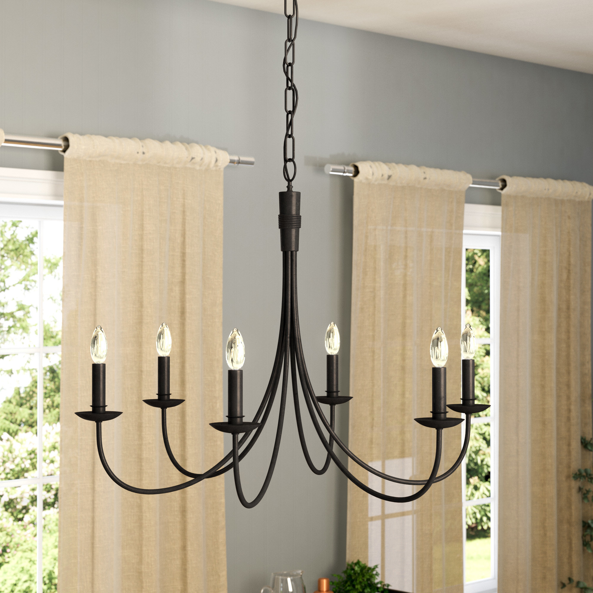 Hamza 6 Light Candle Style Chandeliers Pertaining To Widely Used Laurel Foundry Modern Farmhouse Souders 6 Light Candle Style (Gallery 5 of 20)